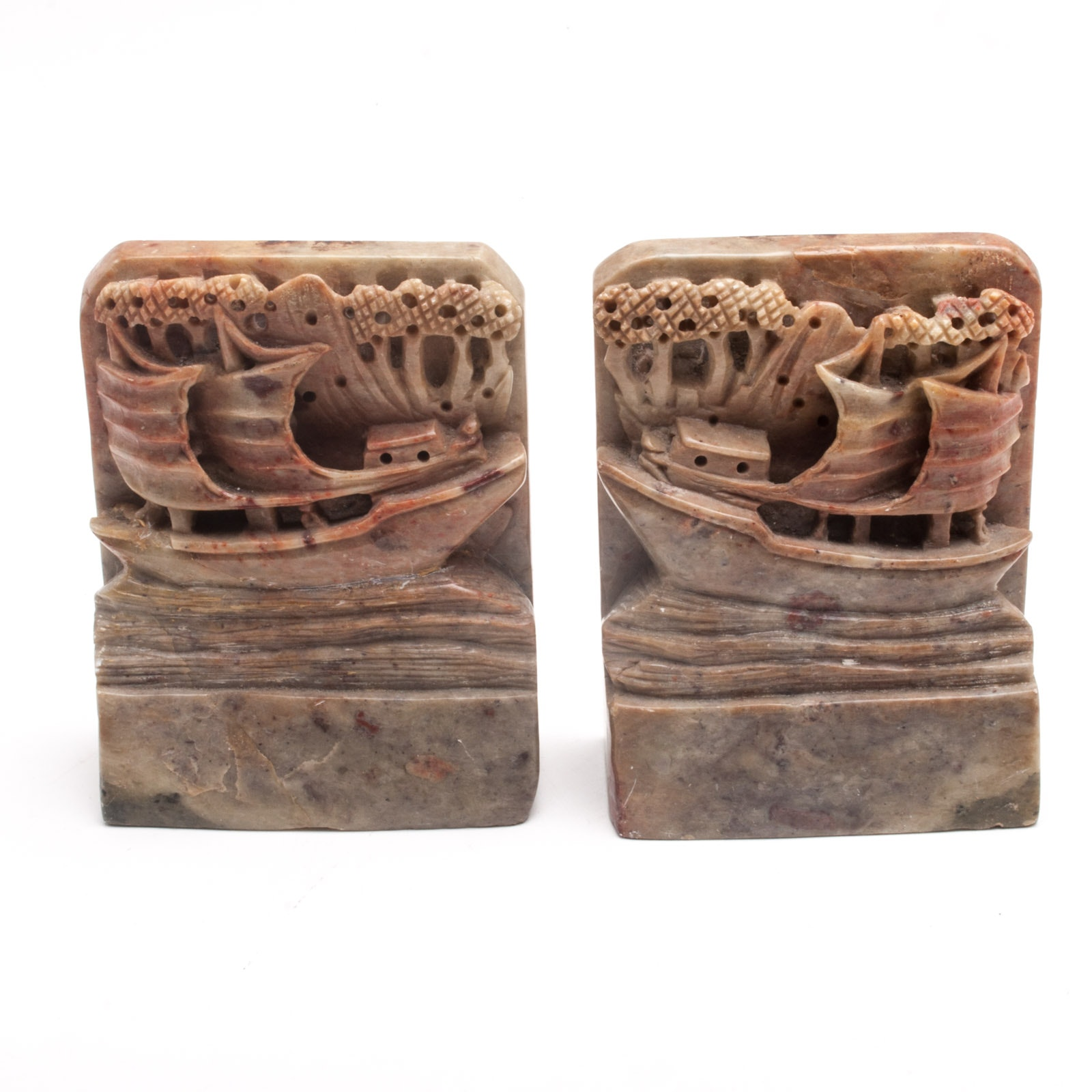 Pair of Chinese Carved Soapstone Bookends Featuring a Sailing Vessel