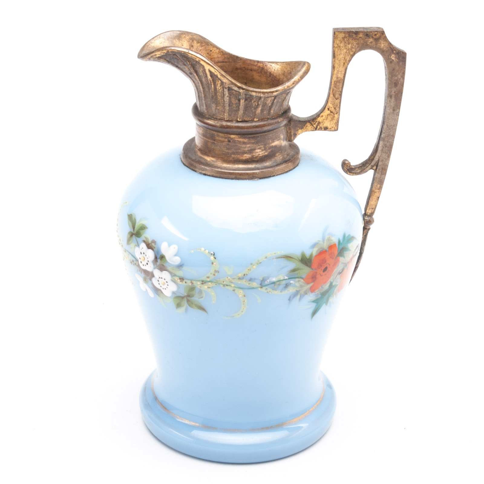 Hand Painted Ceramic Pitcher with Brass Handle and Spout