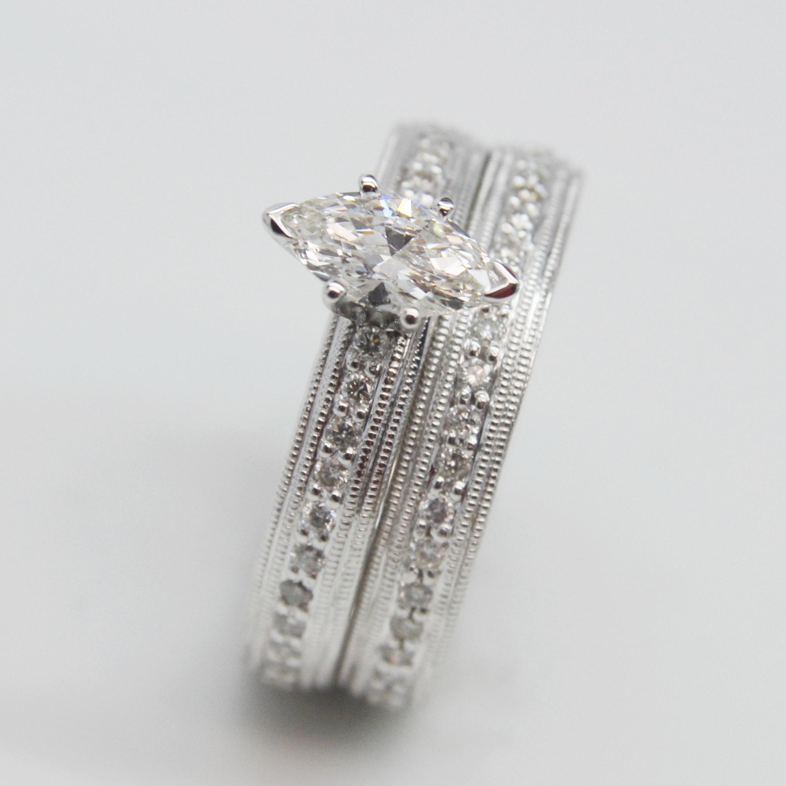 14K White Gold 1.30 CTW Diamond Bridal Set