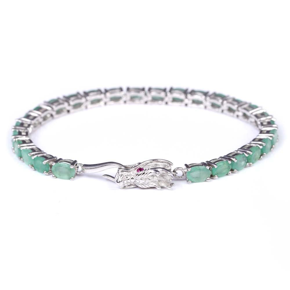 Sterling Silver 10.80 CTW Emerald Dragon Bracelet