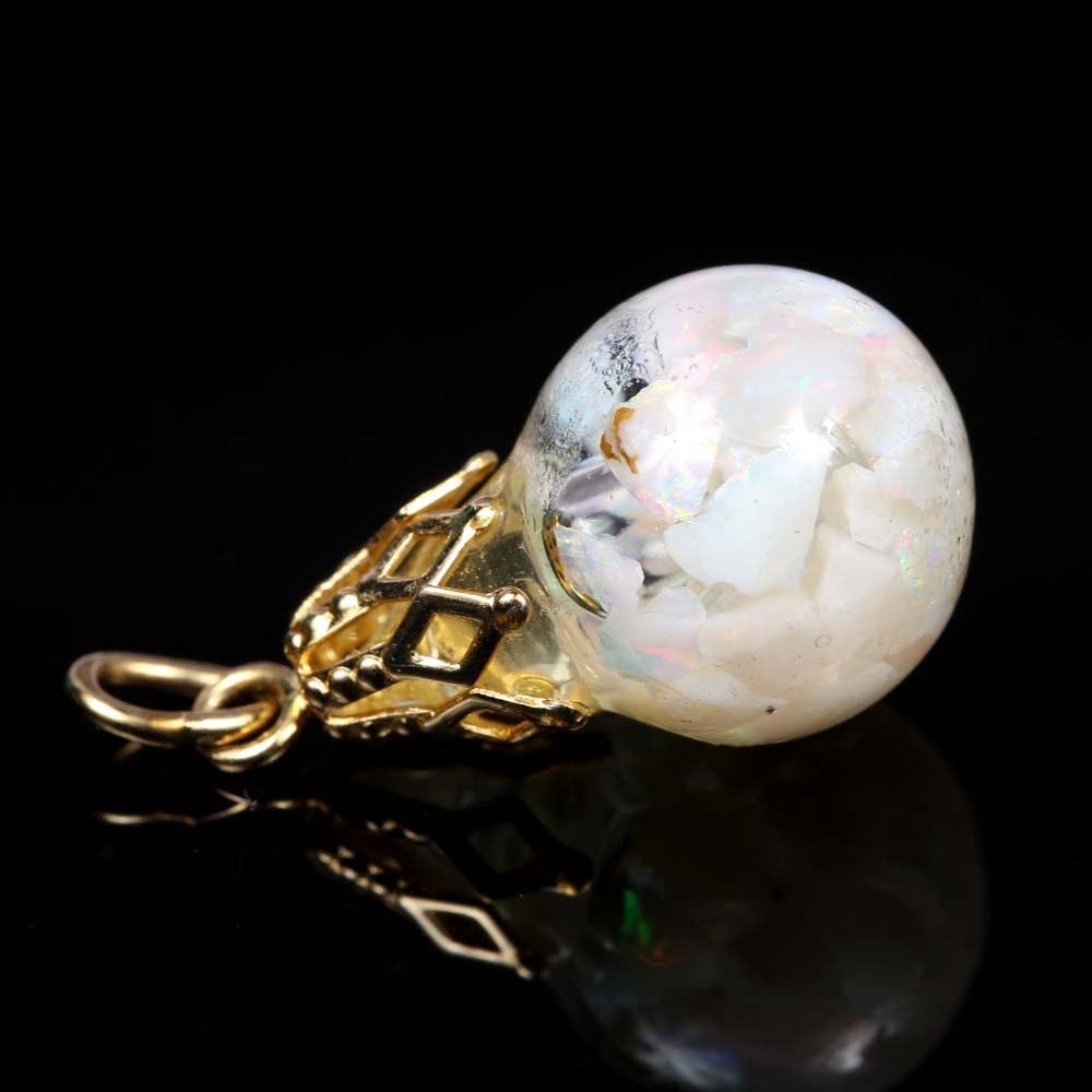 14K Yellow Gold Opal Globe Pendant