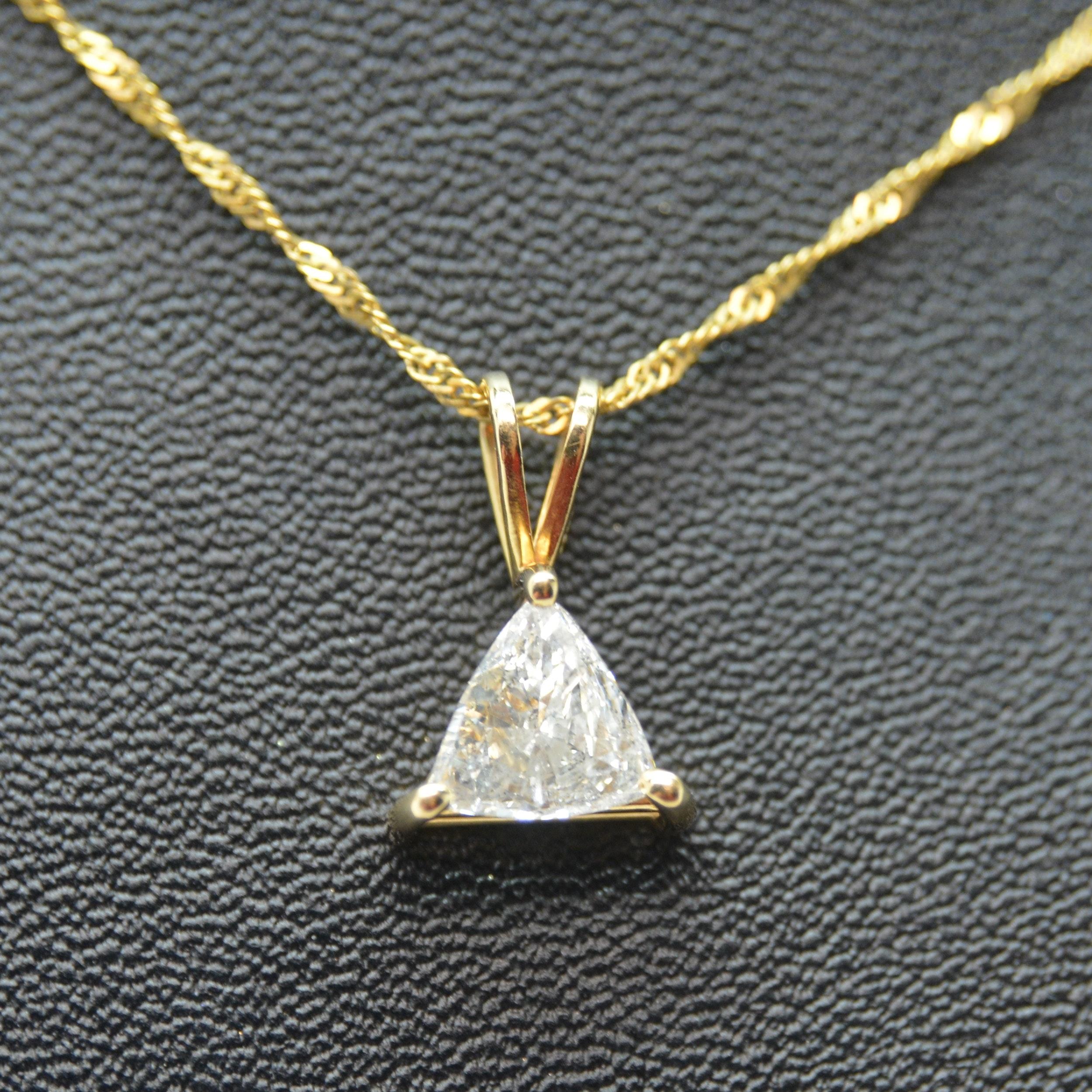 14K Yellow Gold 0.58 CT Trillion Diamond Pendant Necklace