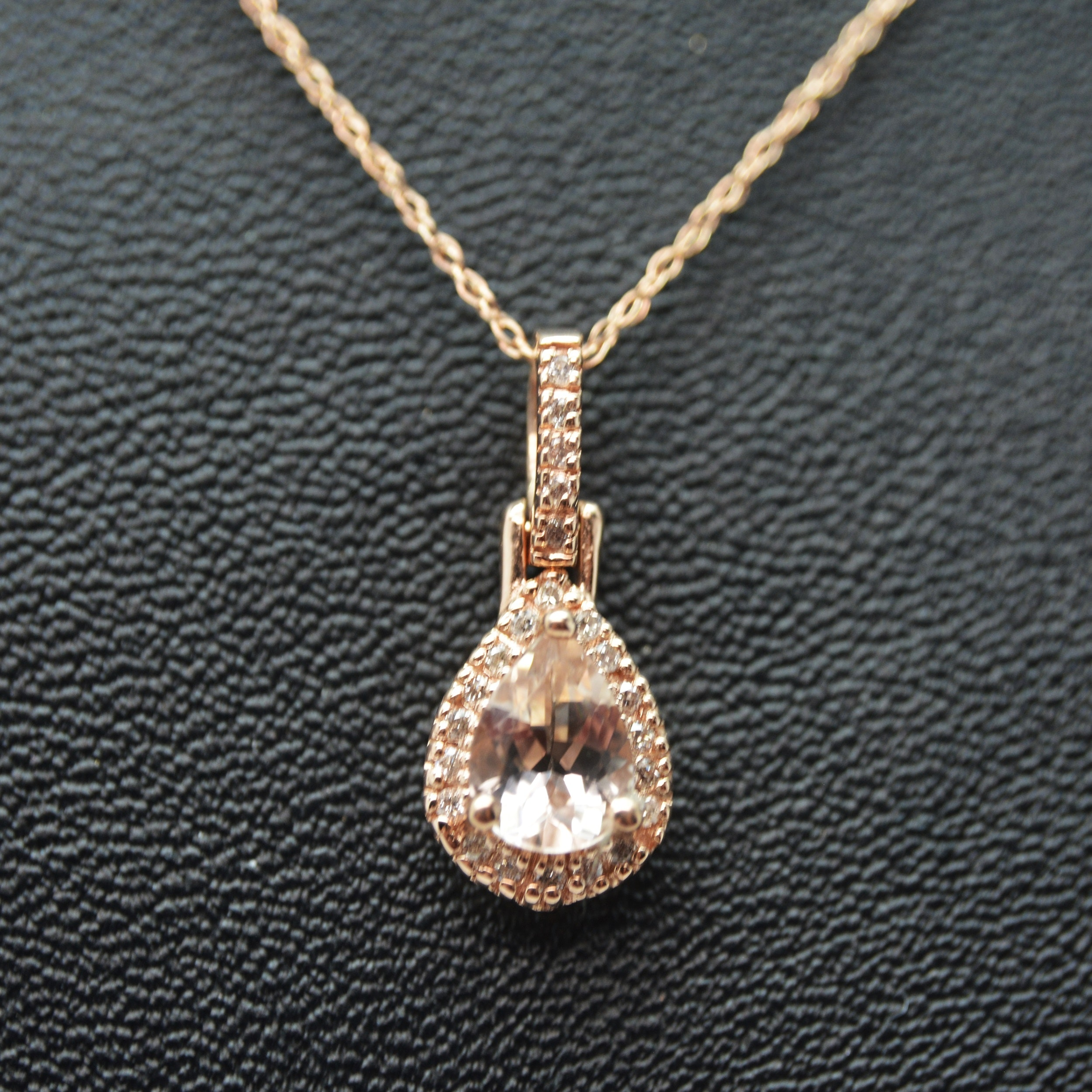 14K Yellow Gold Morganite and Diamond Pendant Necklace