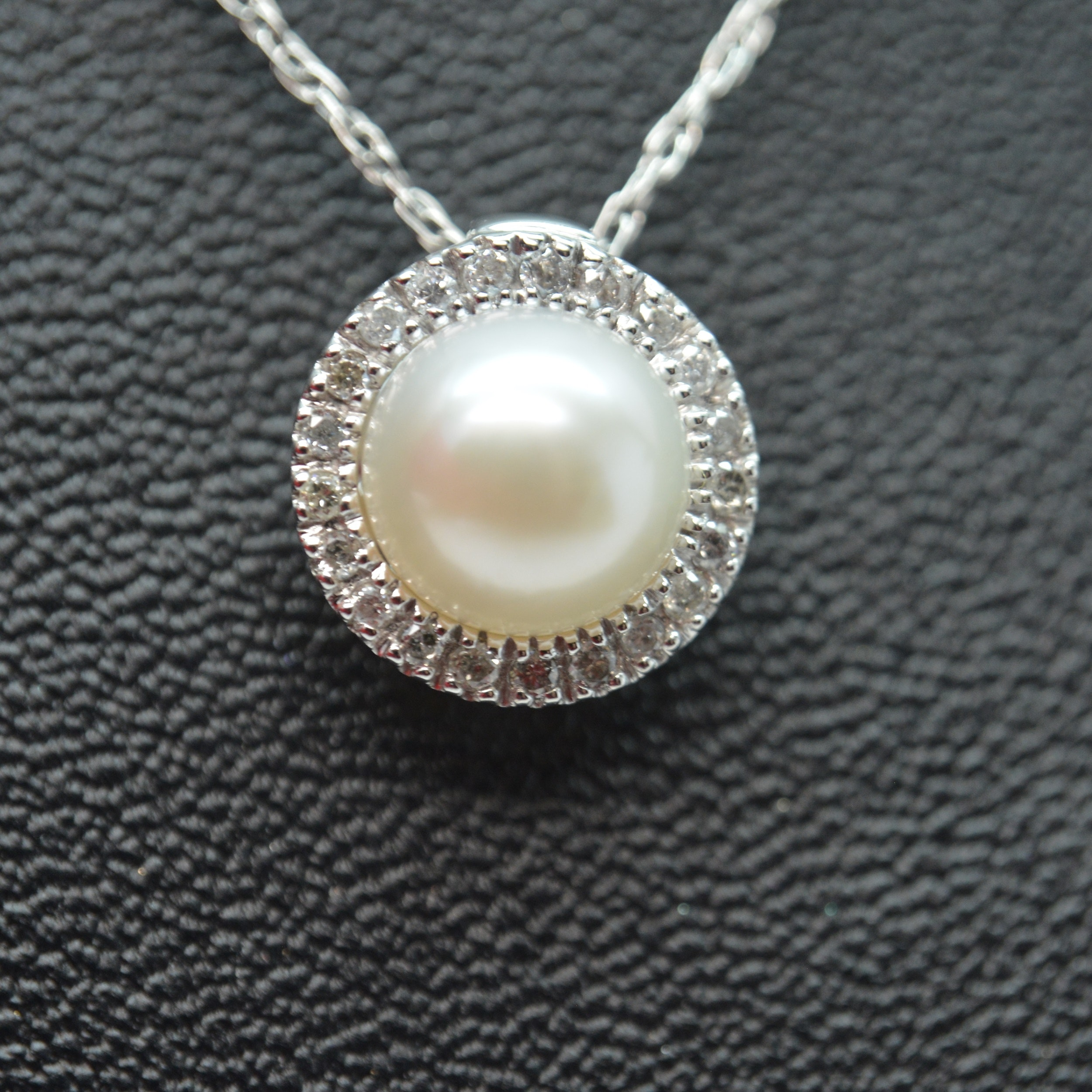 10K White Gold Cultured Pearl and Diamond Pendant Necklace