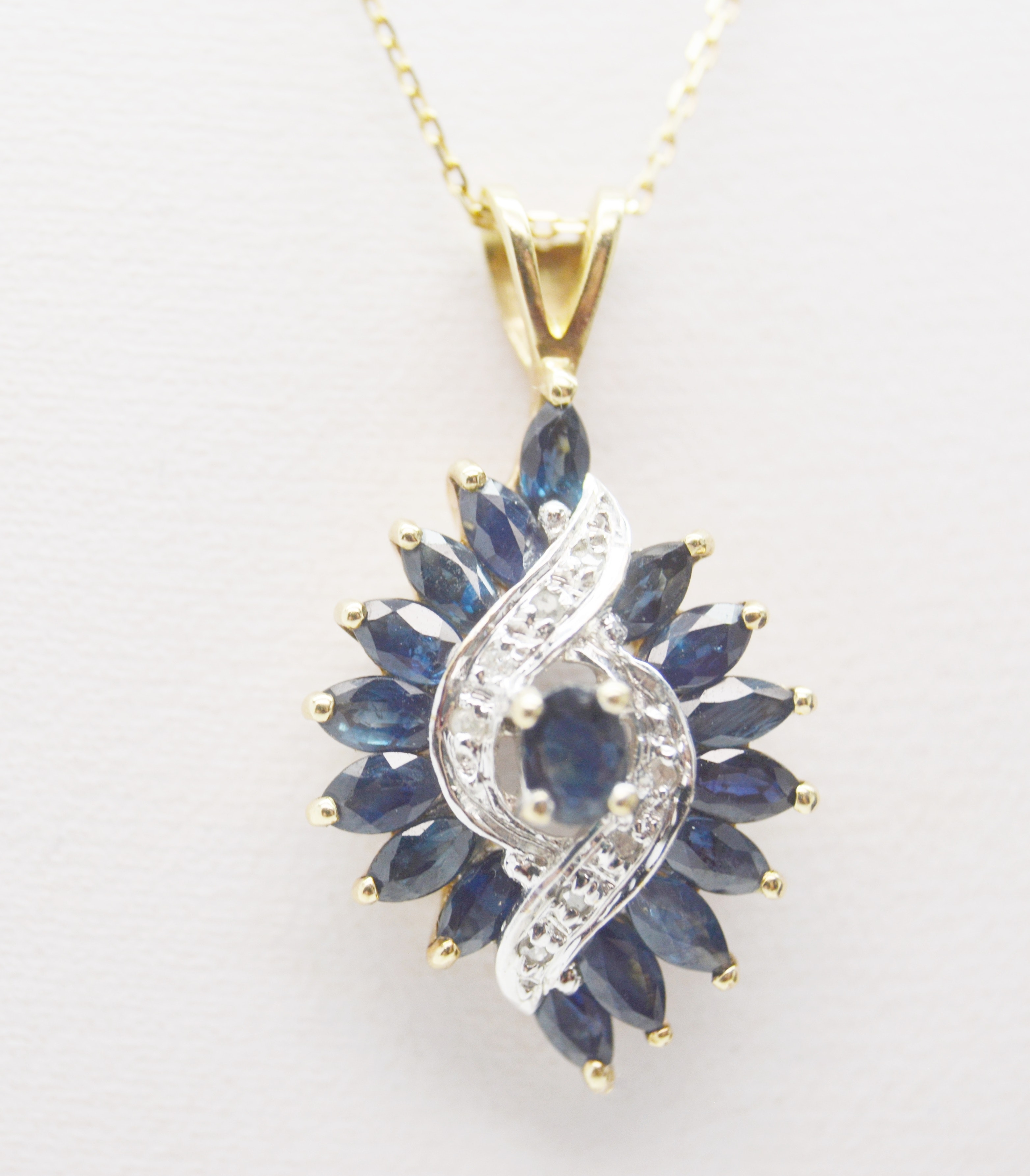 10K Yellow and White Gold Sapphire Diamond Pendant On 14K Yellow Gold Necklace