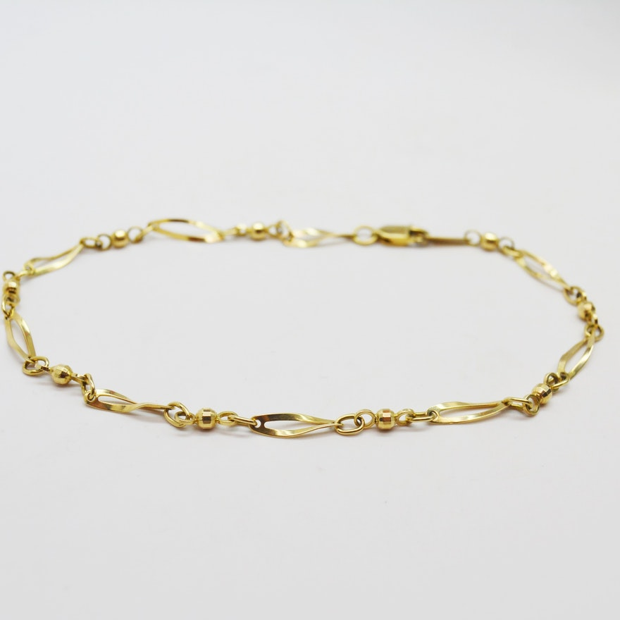 yellow mariner p gold link anklet
