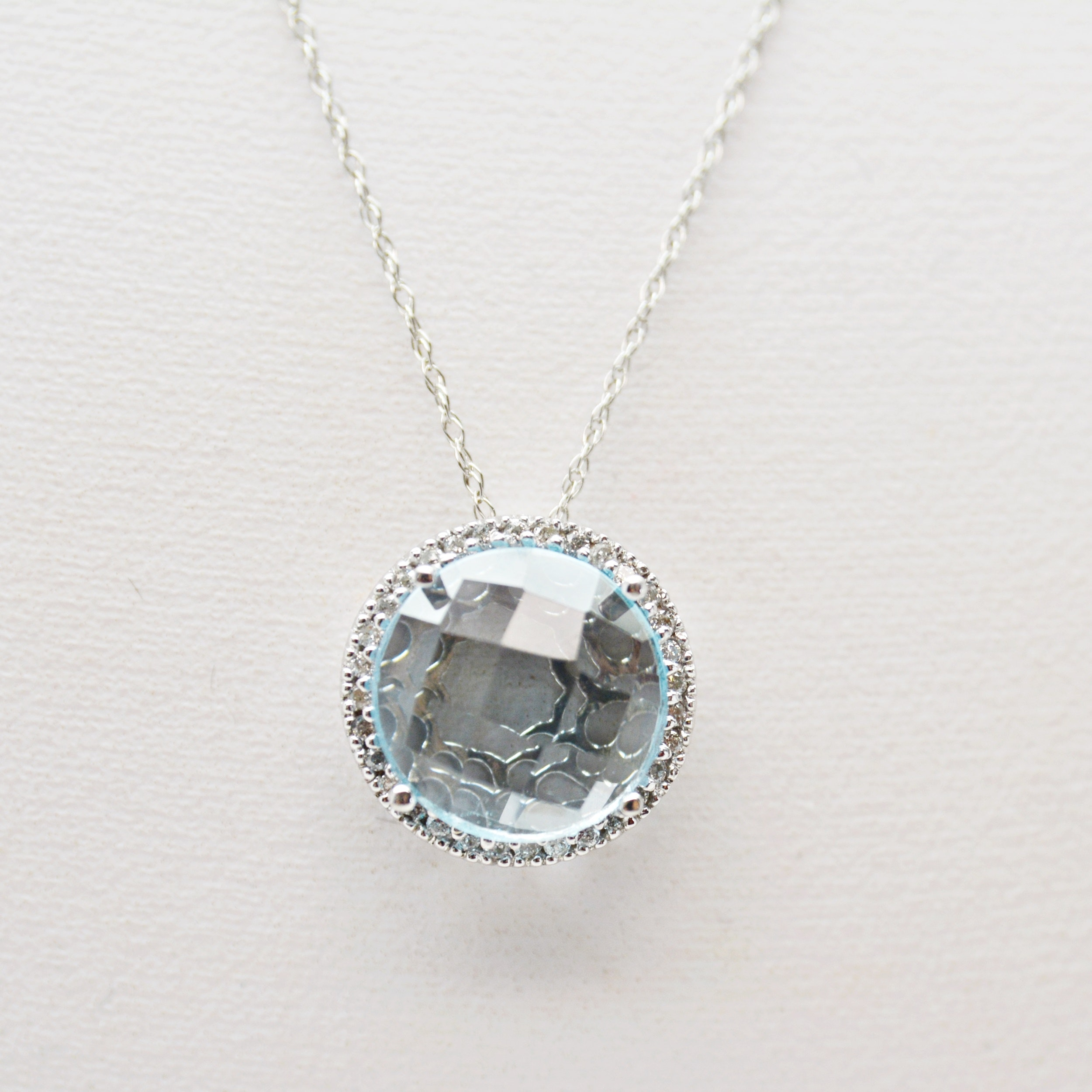 14K White Gold Topaz and Diamond Pendant Necklace