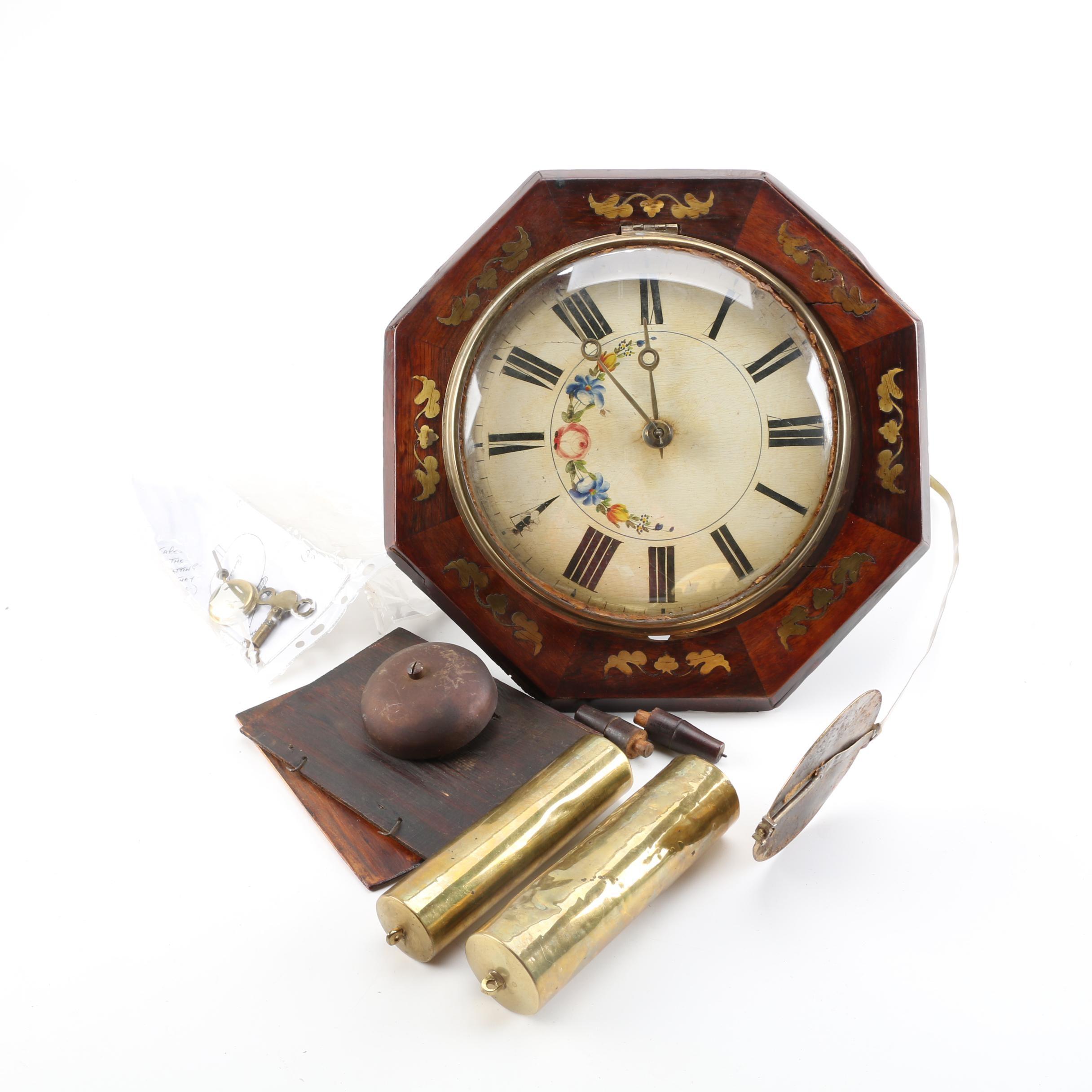 Vintage Wood and Brass Pendulum Wall Clock