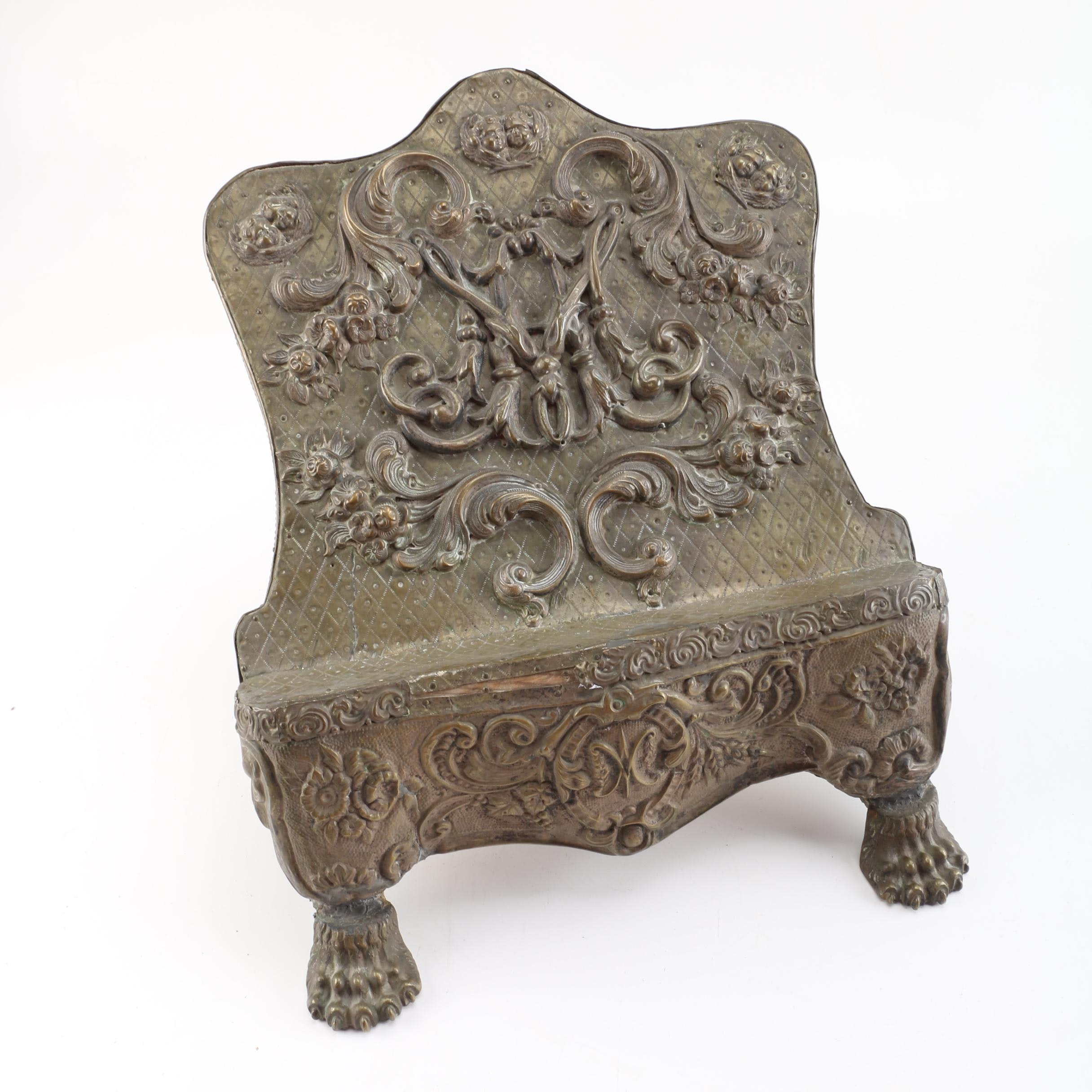 Antique Hammered Copper Relief Lecturn, Circa 18th C.