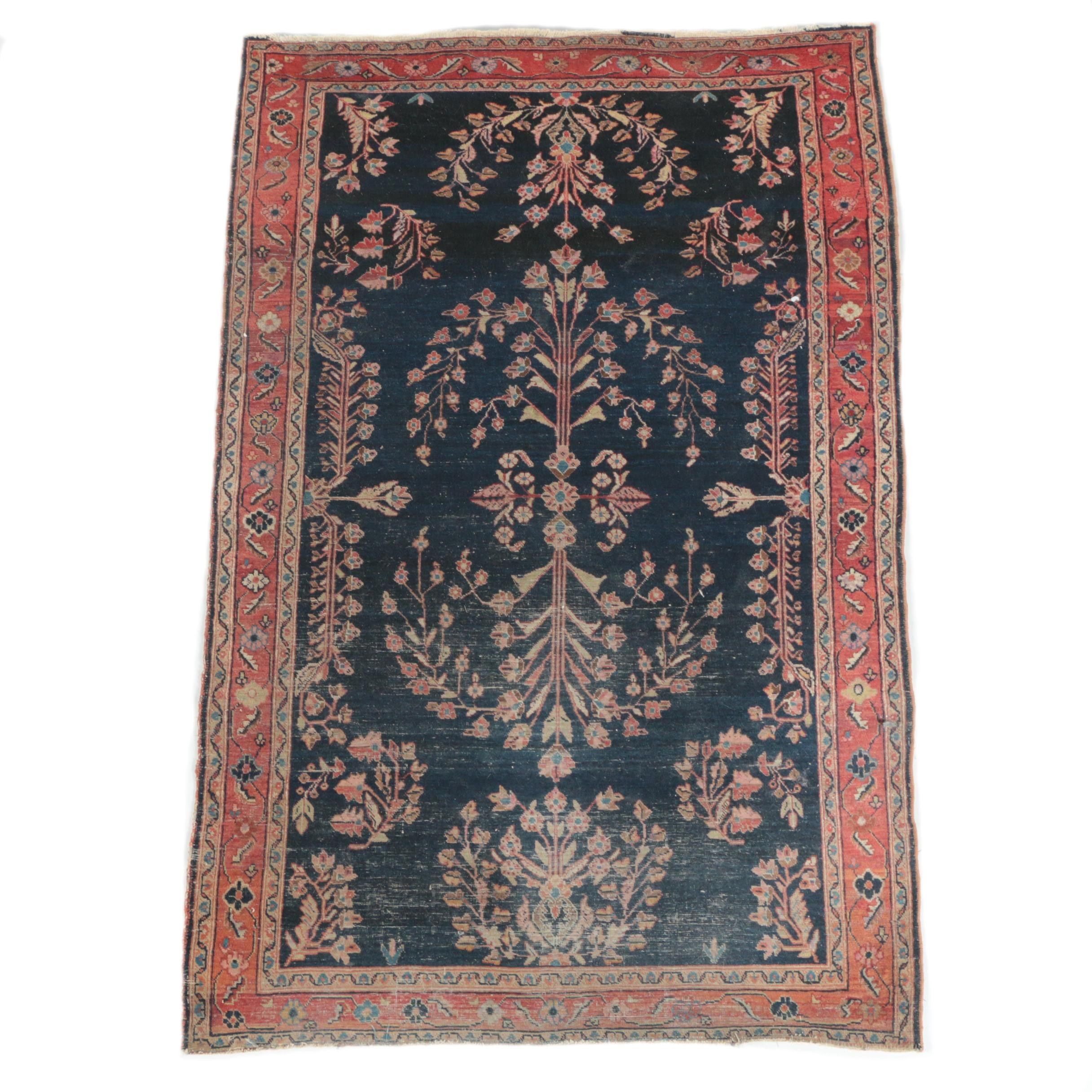 Semi-Antique Hand-Knotted Persian Sarouk Wool Area Rug