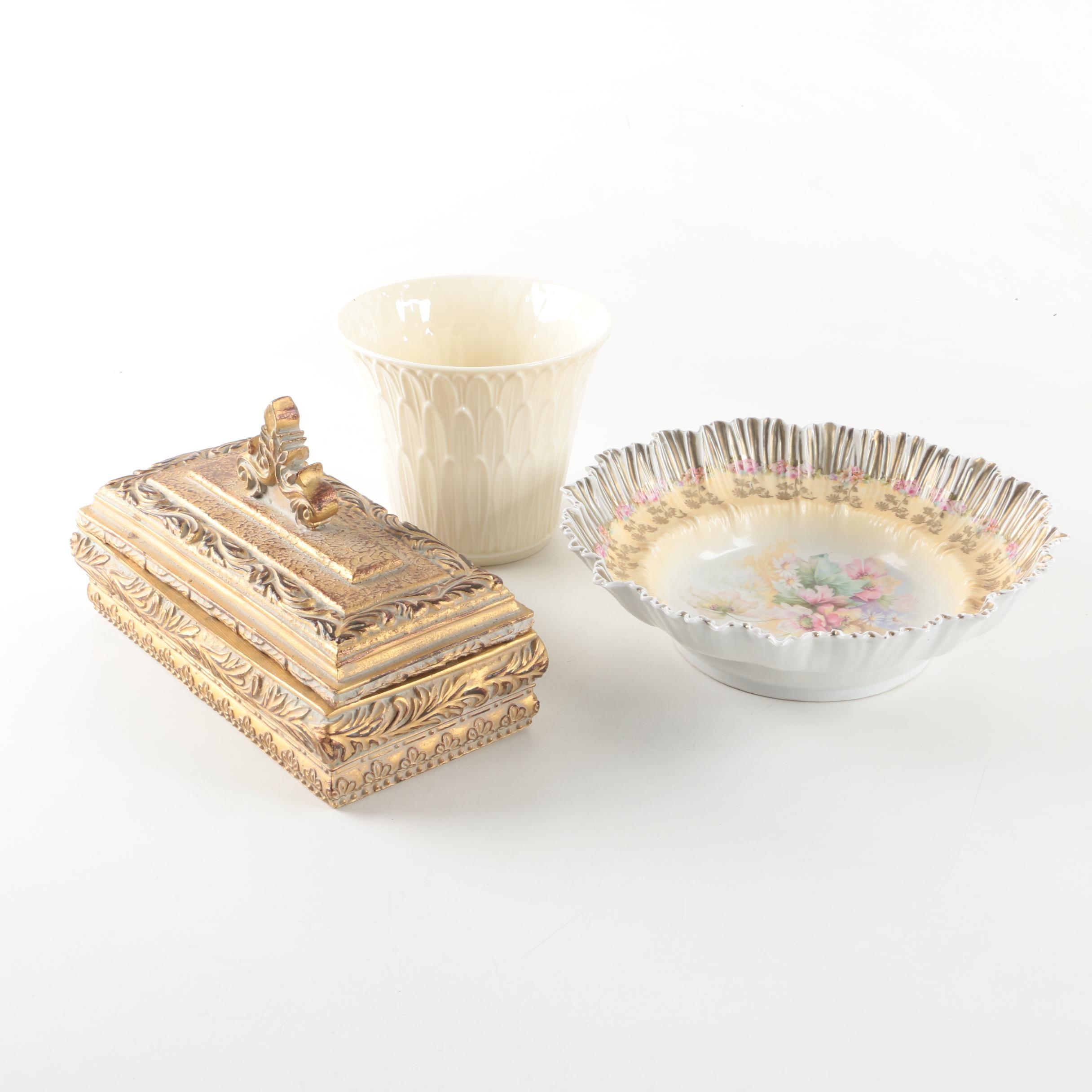 Lenox Florist Vase With a Floral Porcelain Bowl and a Trinket Box