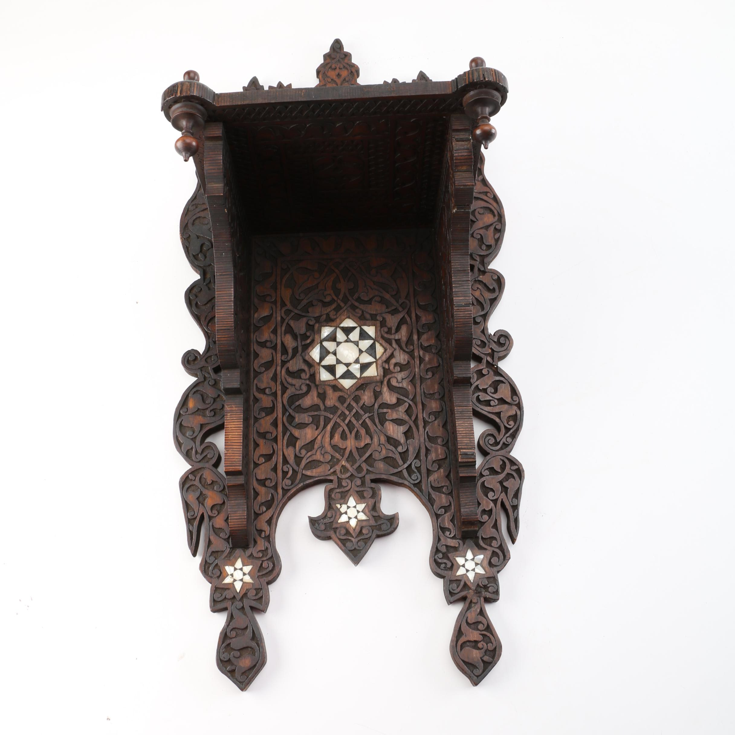 British Colonial Style Carved Wood Wall Shelf