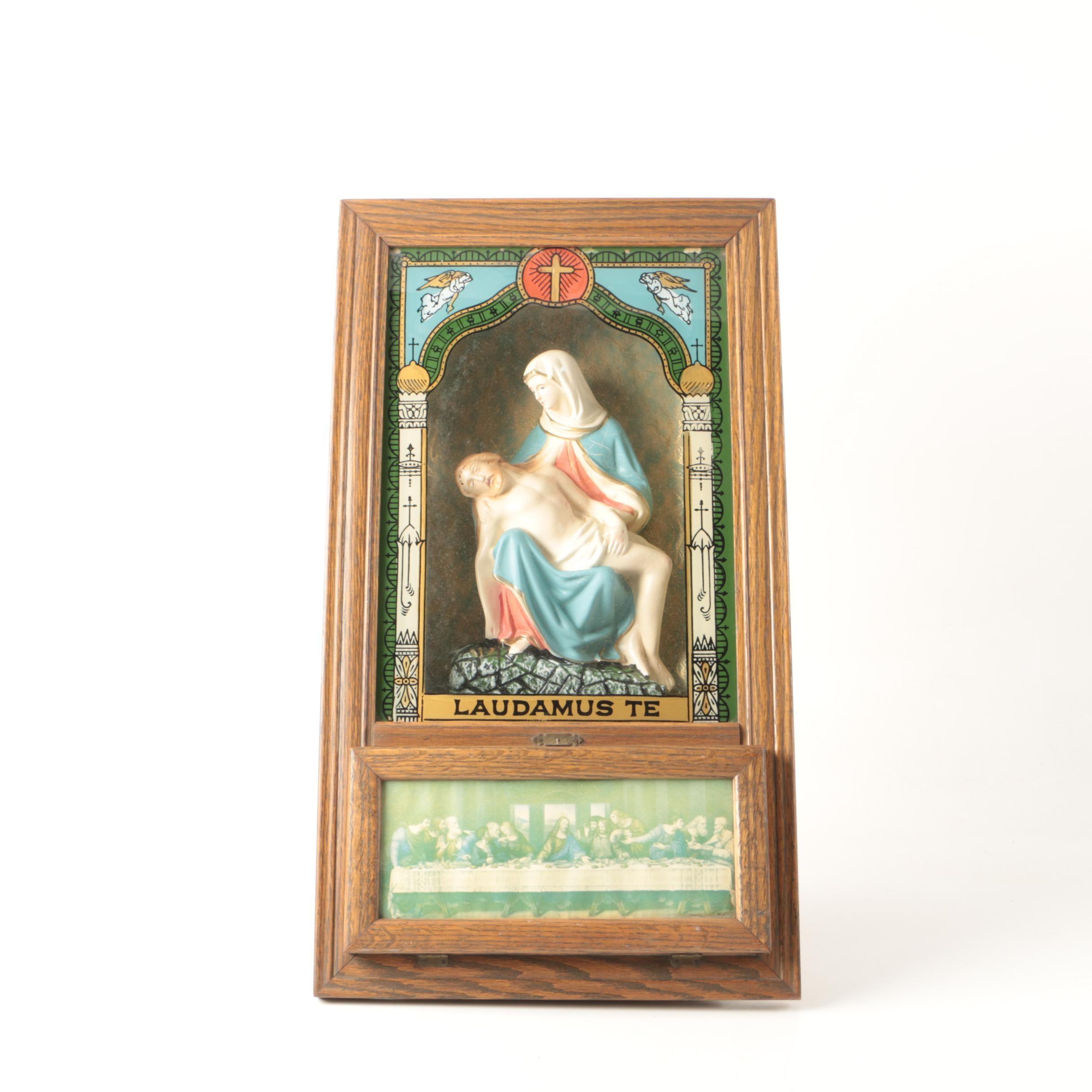 Antique Catholic Viaticum Last Rites and  Altar Cabinet
