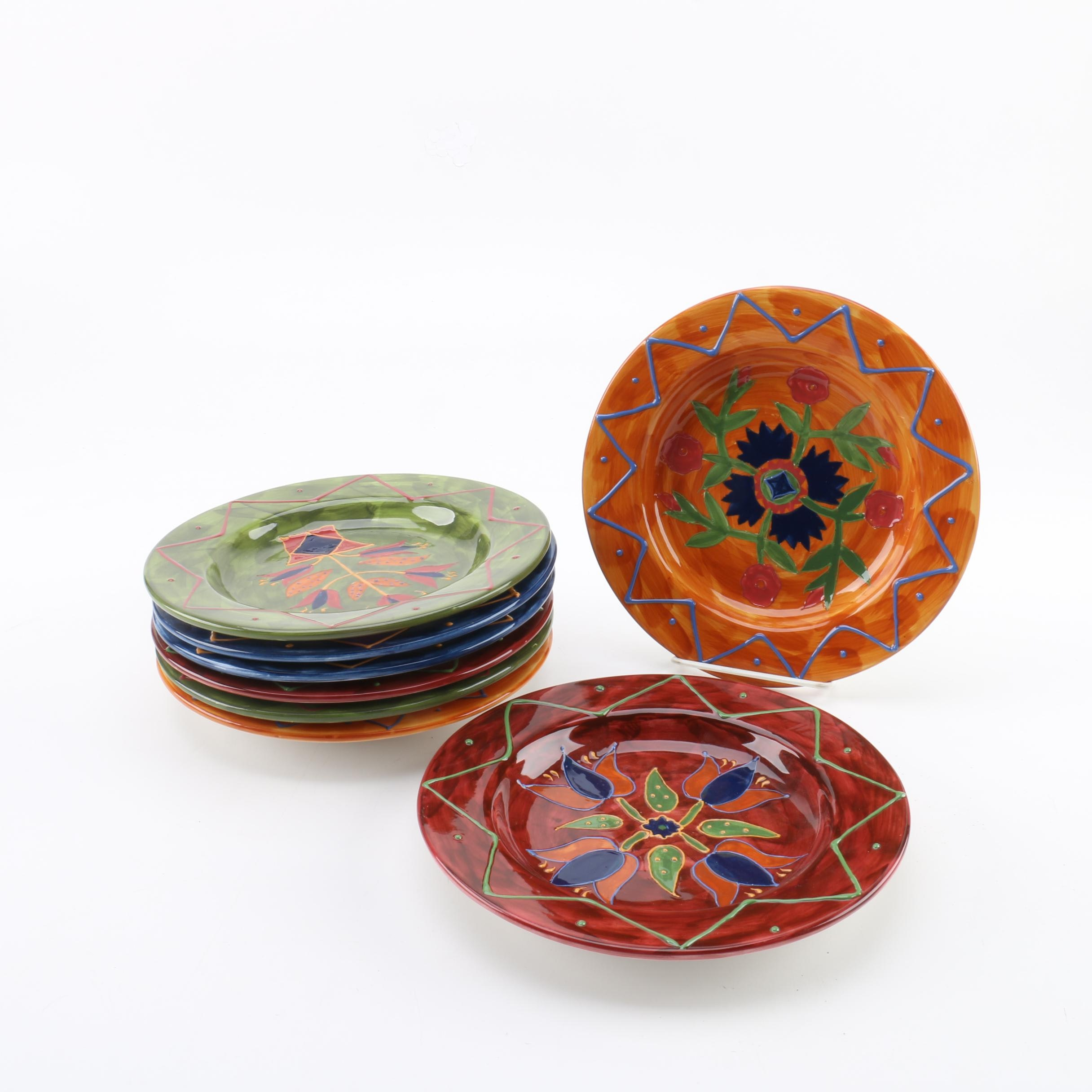 "Susan Winget Certified International ""Country Quilts"" Salad Plates"