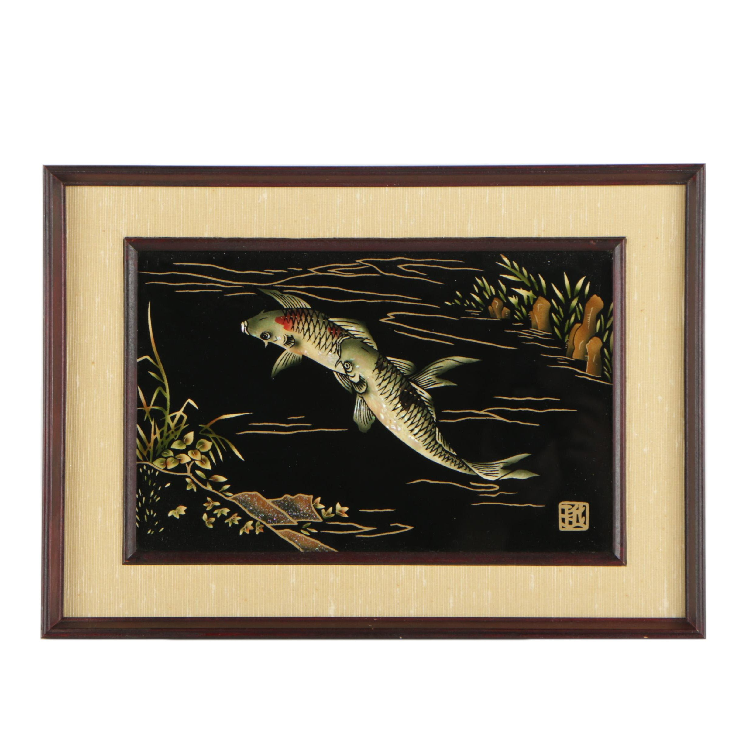 East Asian Reverse Painting on Glass of Koi Fish