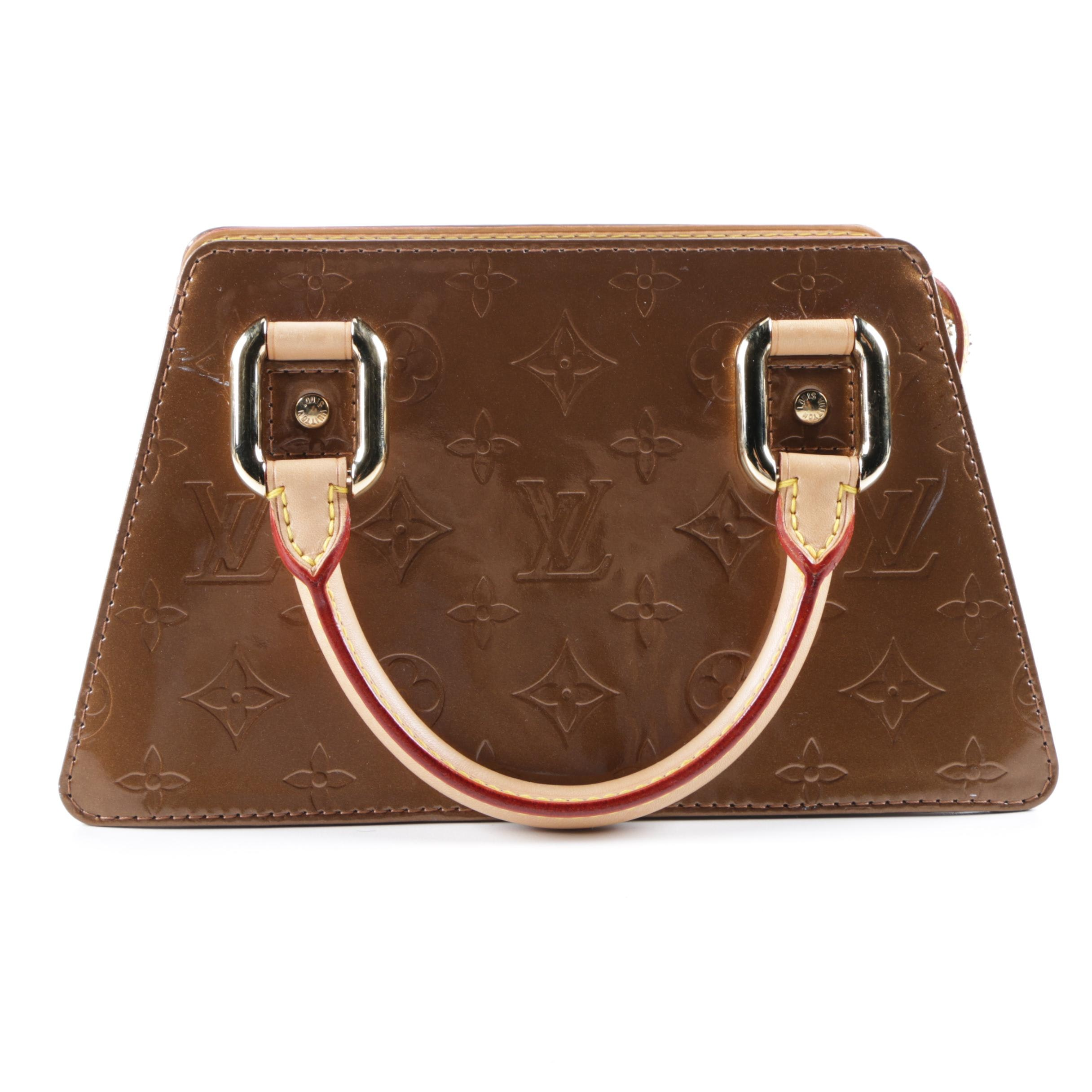 Louis Vuitton of Paris Forsyth Monogram Vernis Bronze Leather Handbag