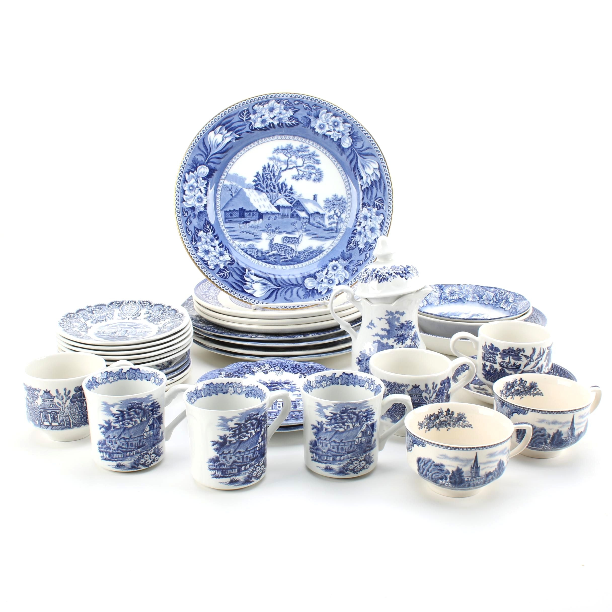 "Blue Transfer Printed Dinnerware Including ""Historical Ports of England"""
