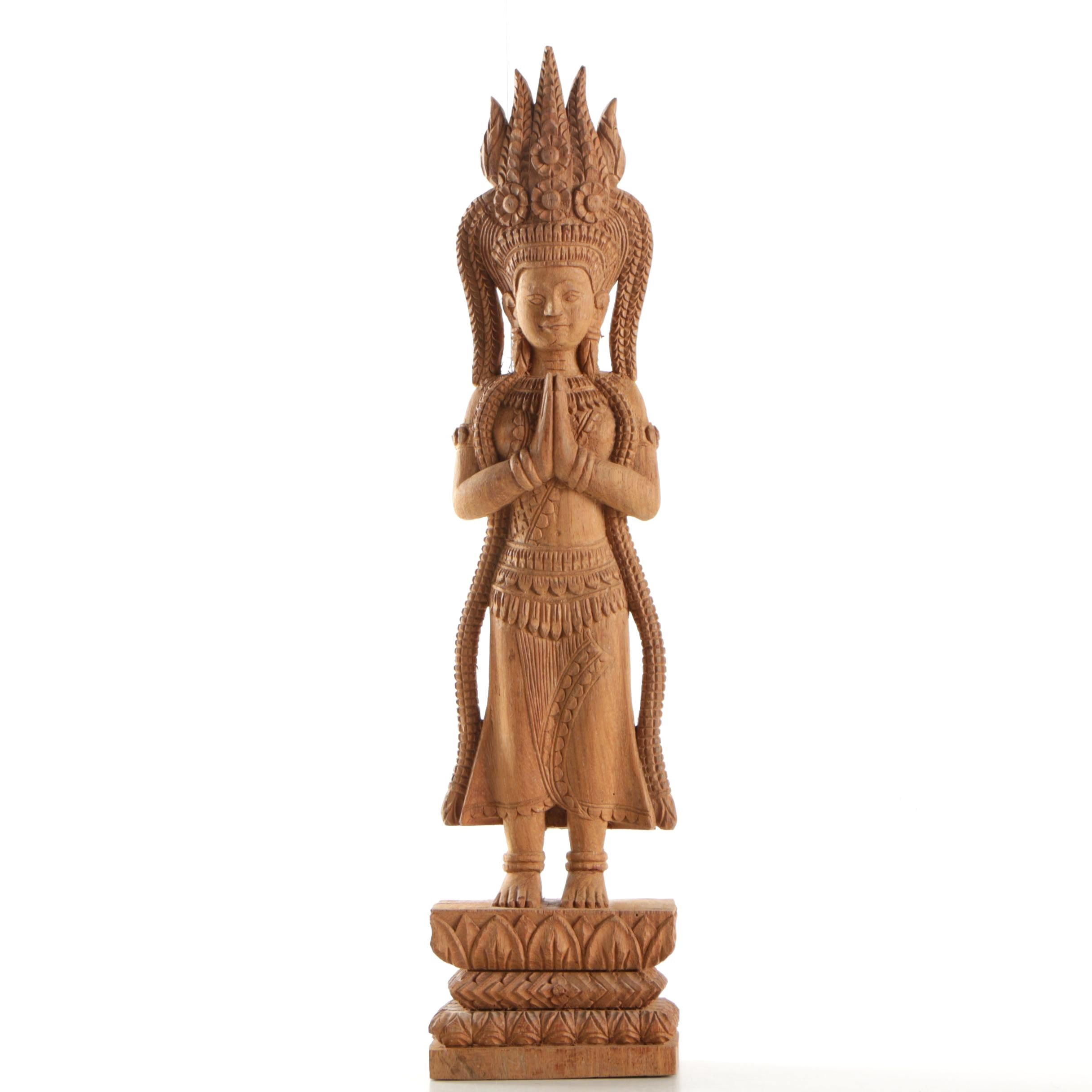 Southeast Asian Style Carved Wood Devotional Figure