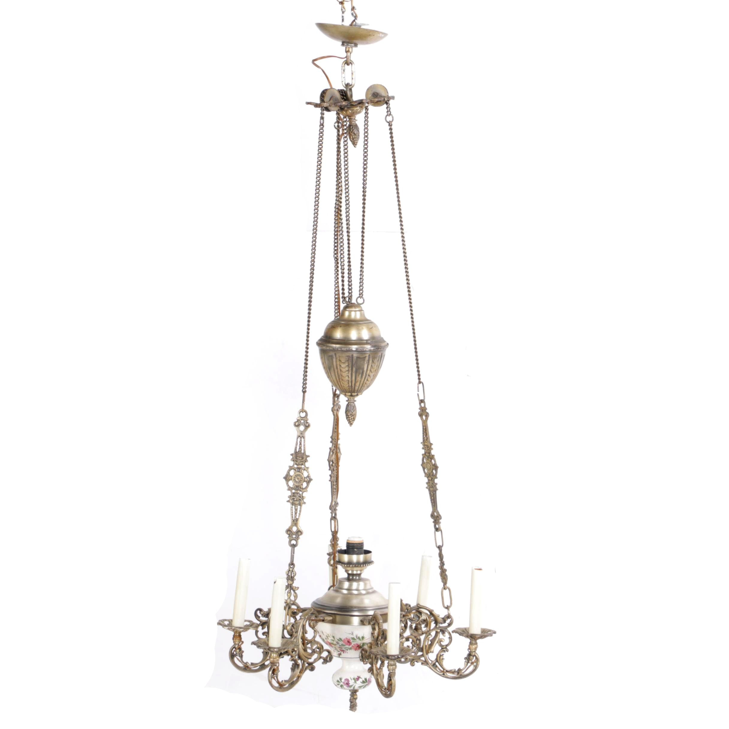 Brass and Ceramic Chandelier