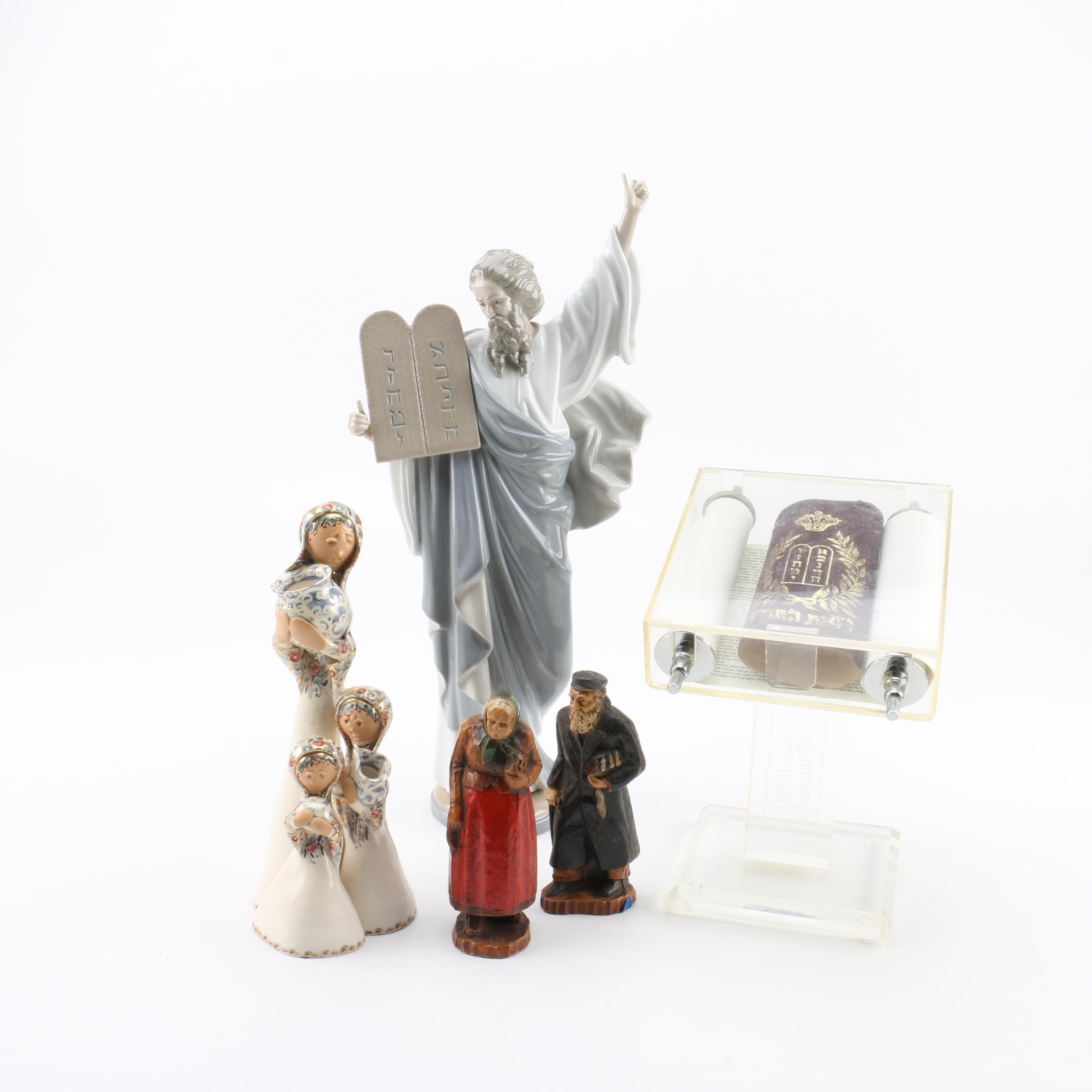 Lladro Porcelain Figurine with Related Religious Items