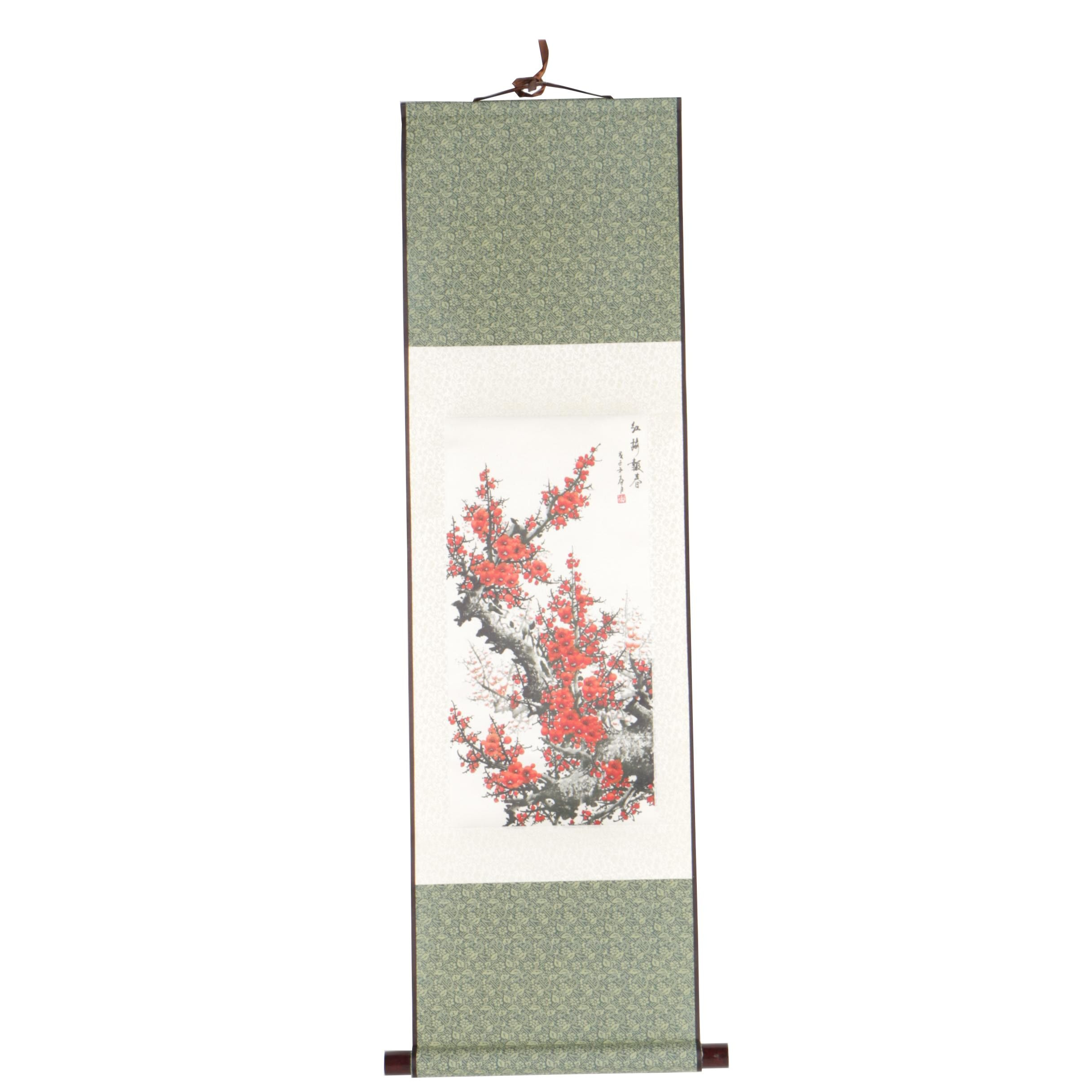 Chinese Giclée Print of Blossoms on Hanging Scroll