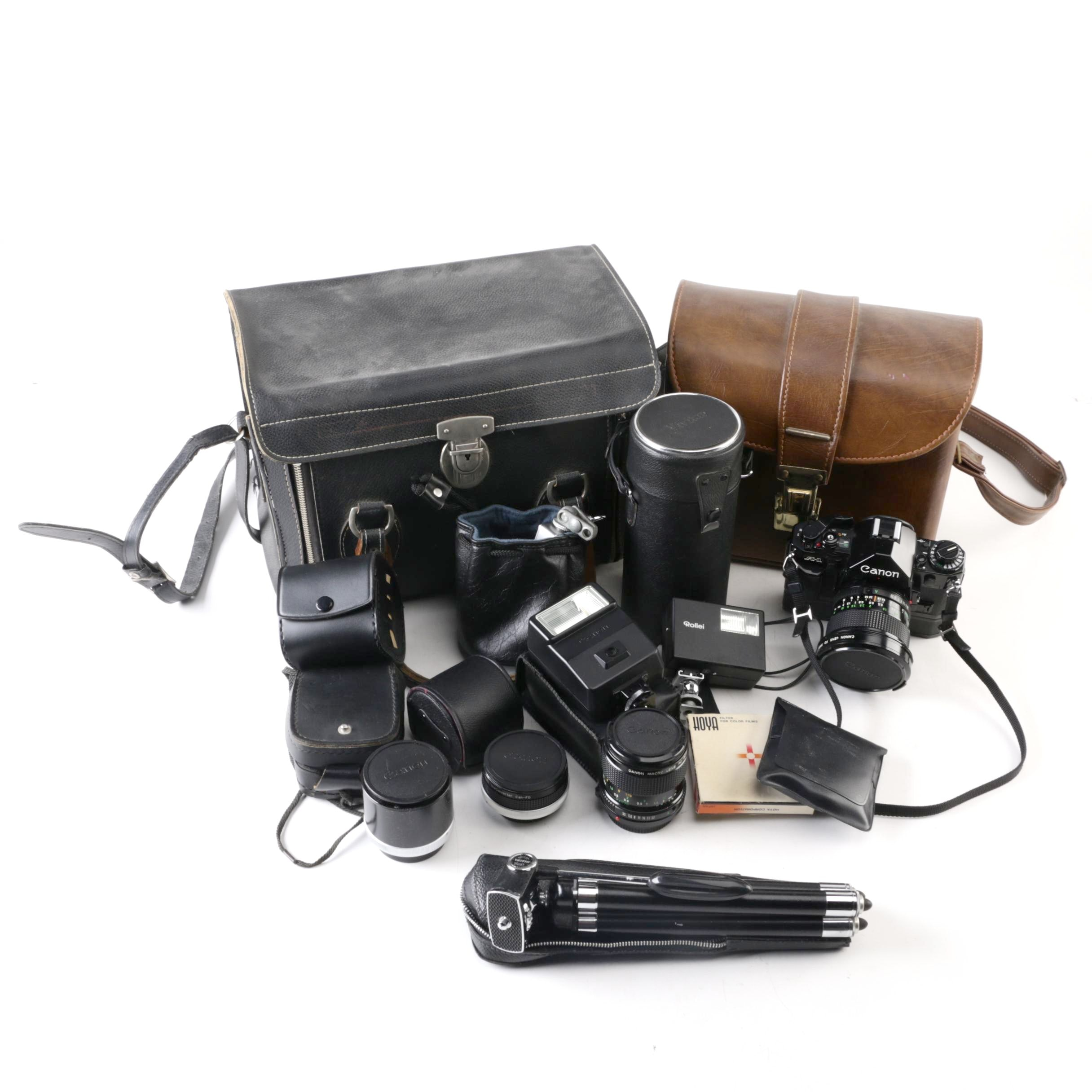Canon A-1 Camera, Lens And Accessories