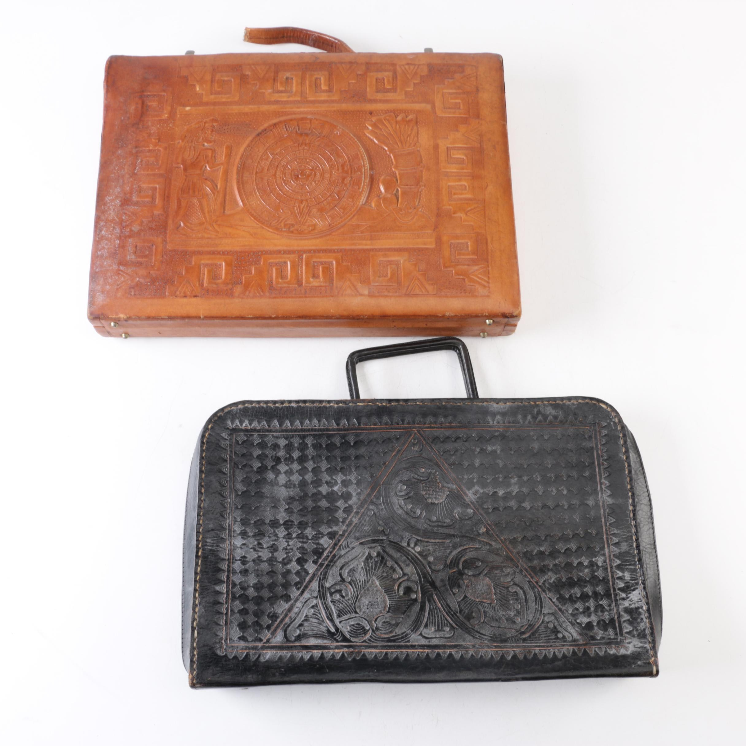 Vintage Tooled Leather Attaché Cases