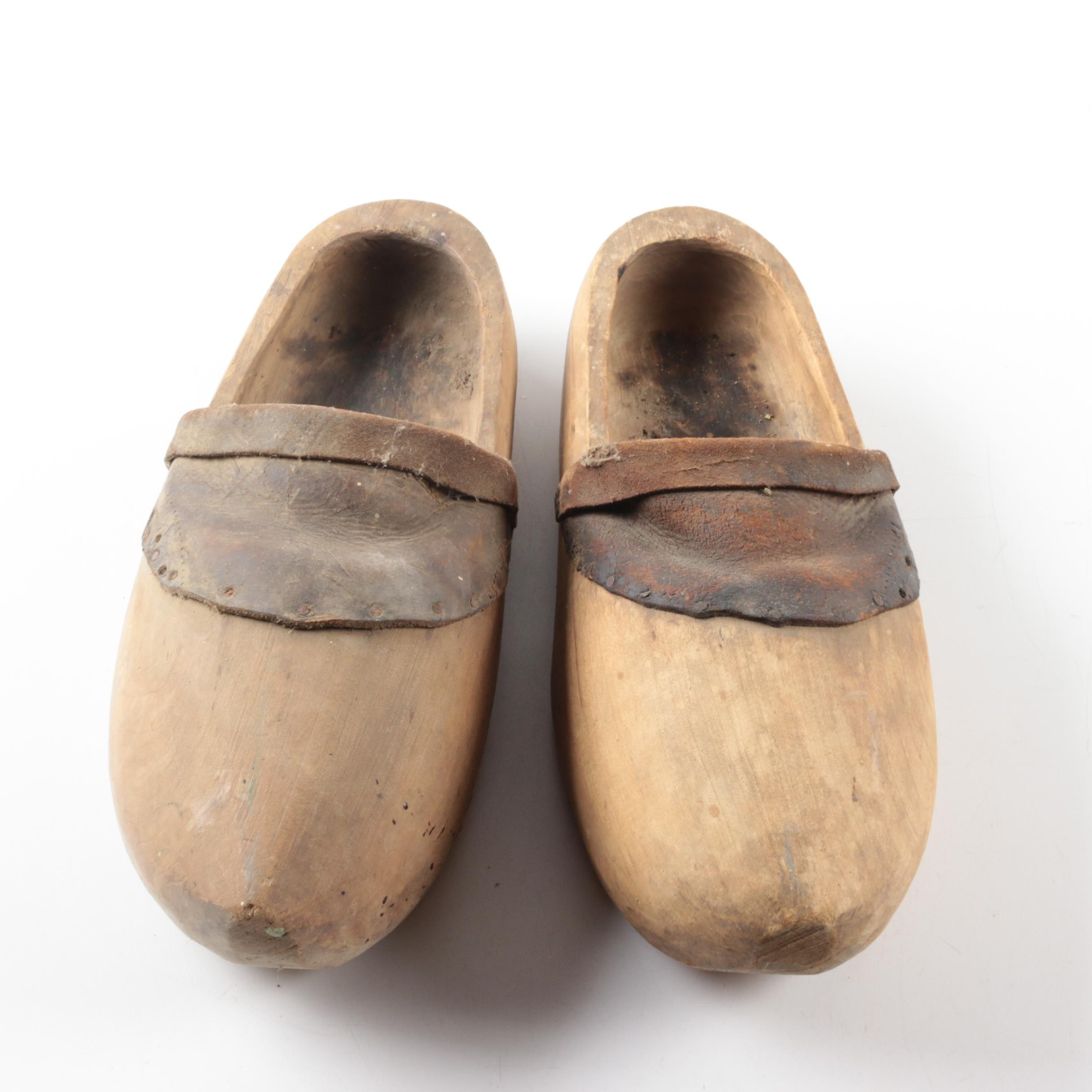 Vintage Carved Wooden Shoes