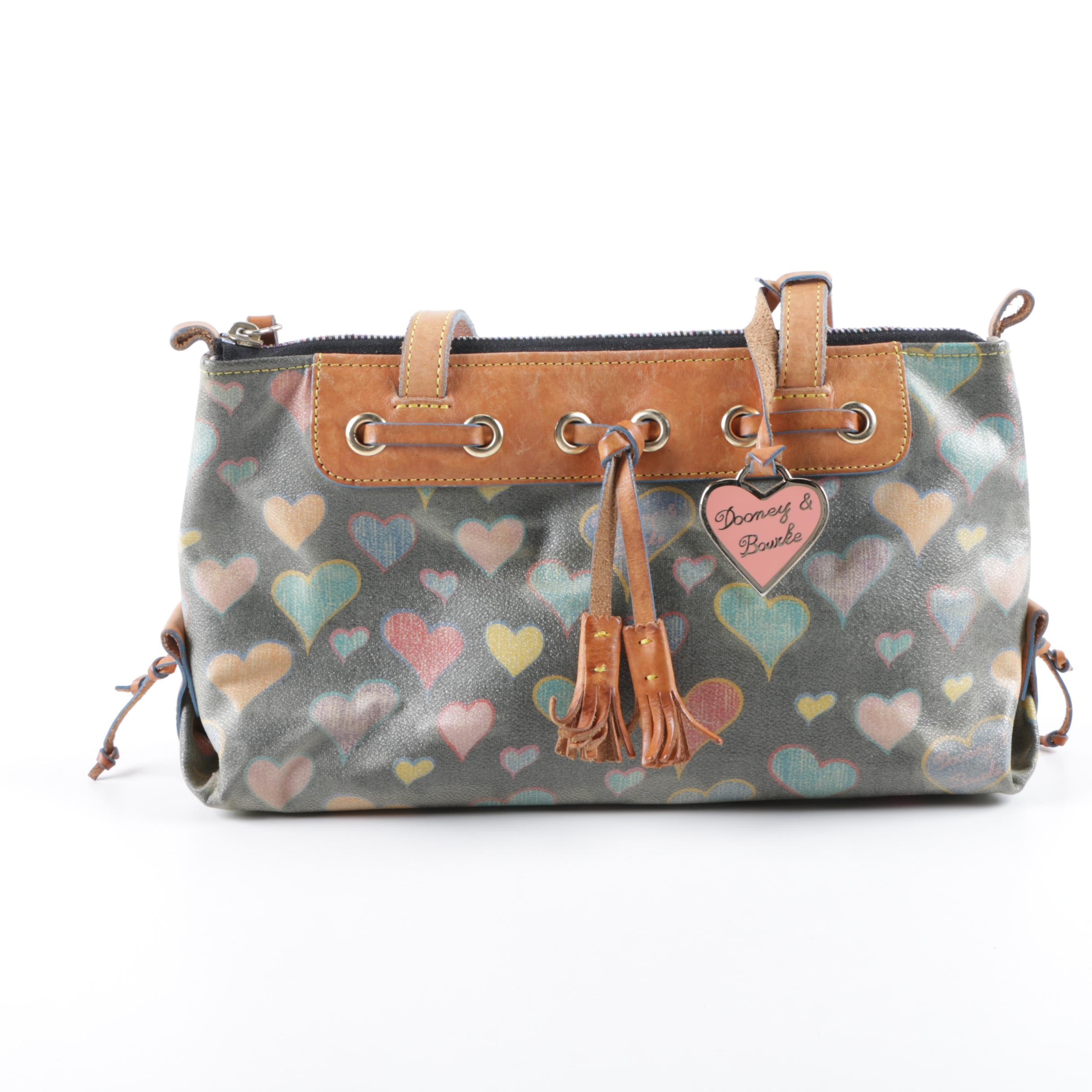 Dooney & Bourke Signature Heart Coated Canvas and Leather Trimmed Satchel
