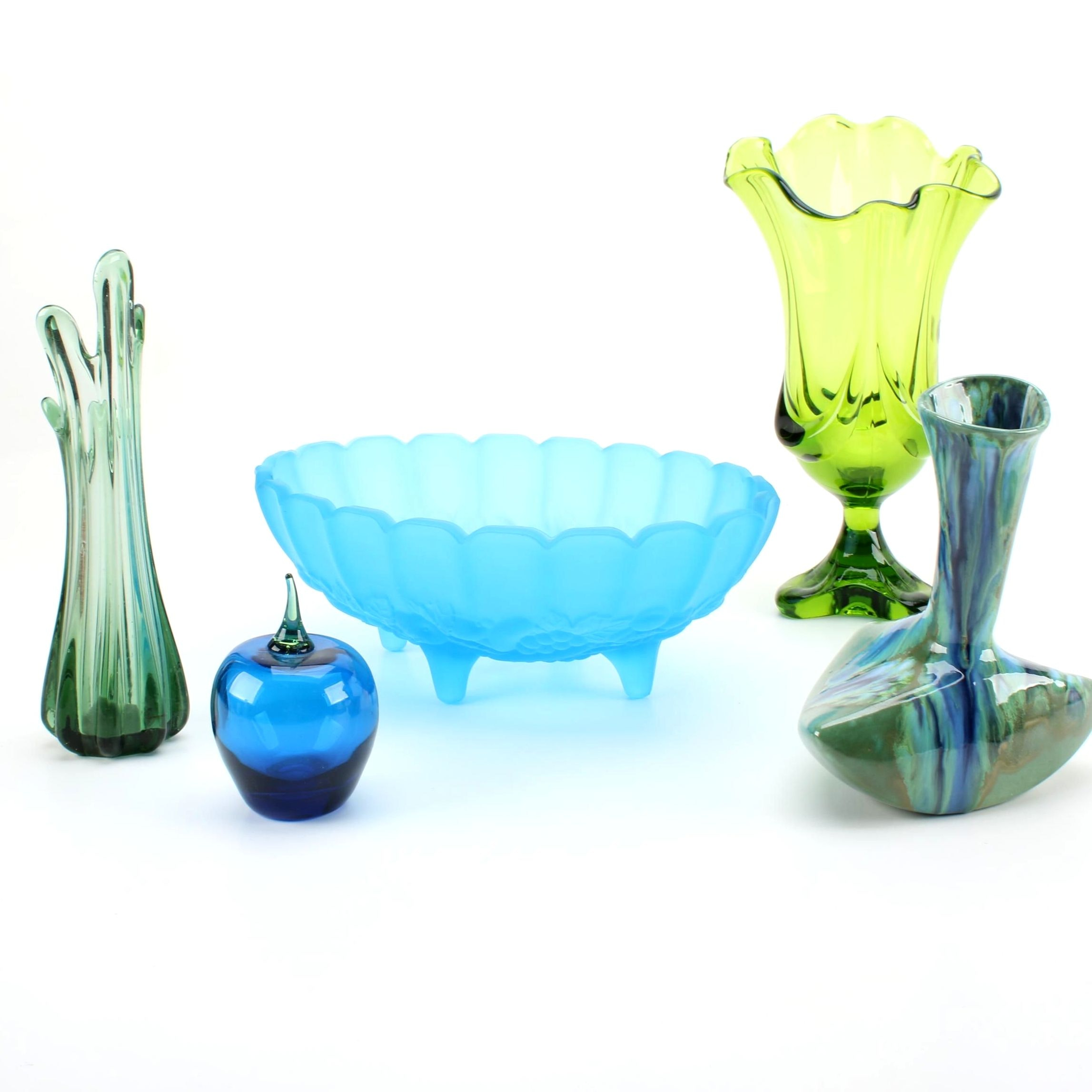 Glass and Ceramic Vases Including Viking and Monterey Jade