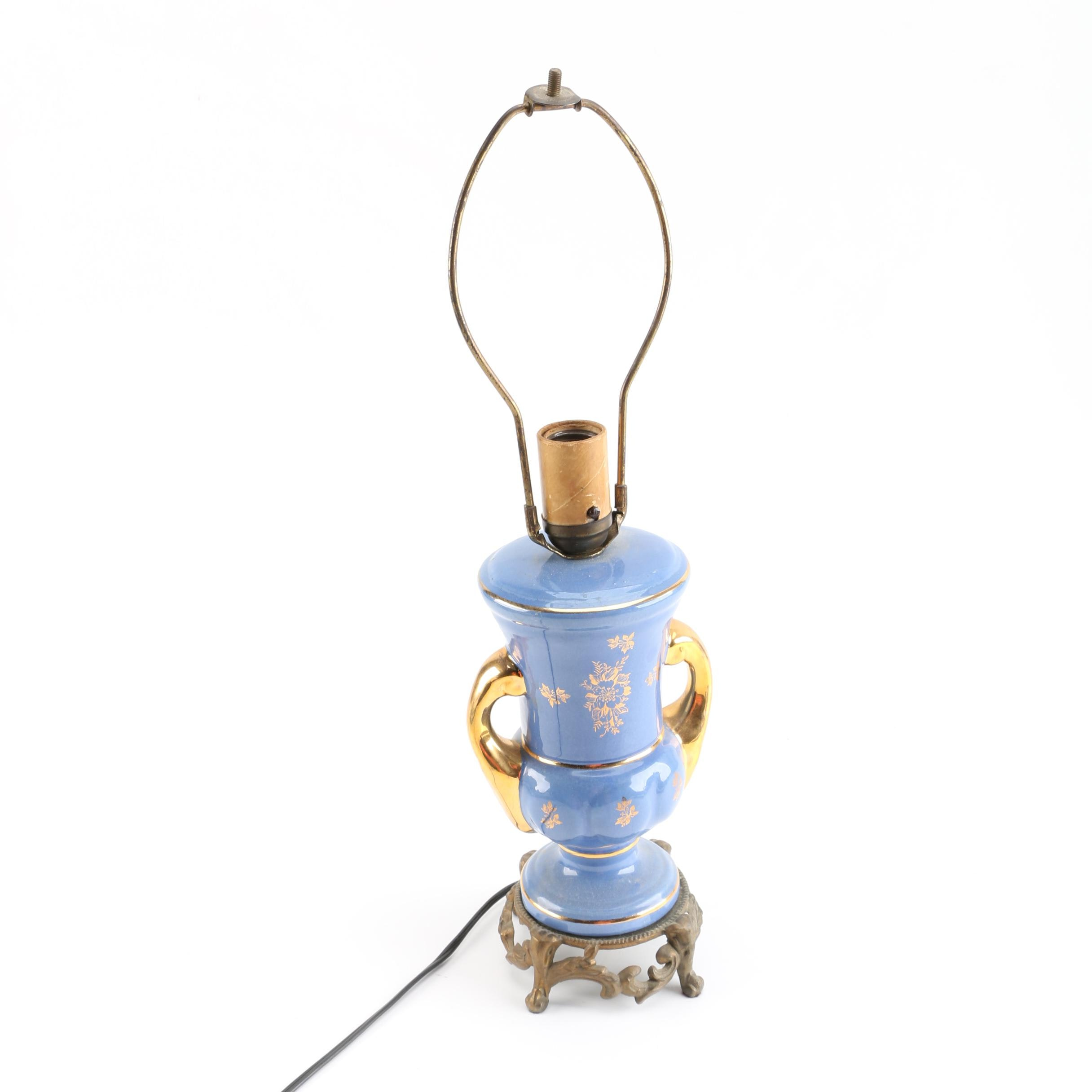 Vintage Blue Ceramic Table Lamp