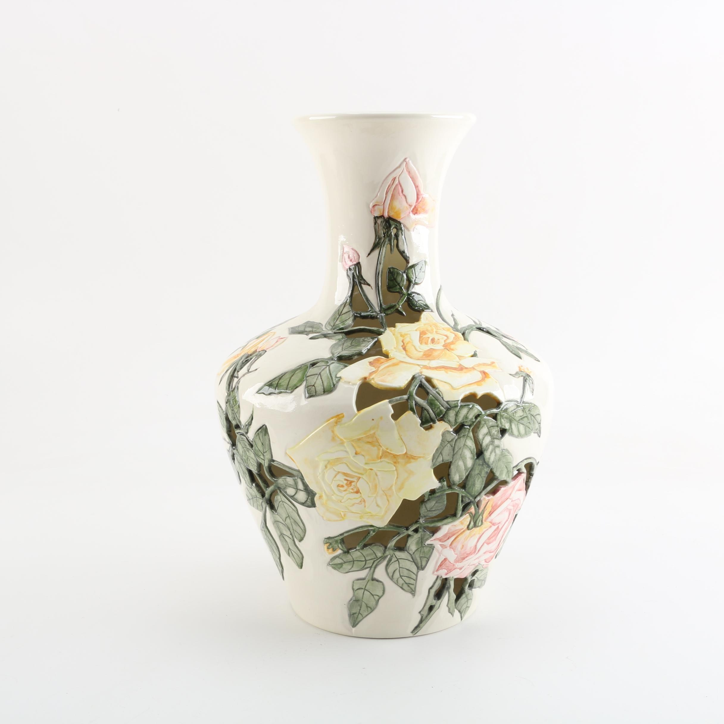 Chinoiserie Cut-out Yellow Rose Vase