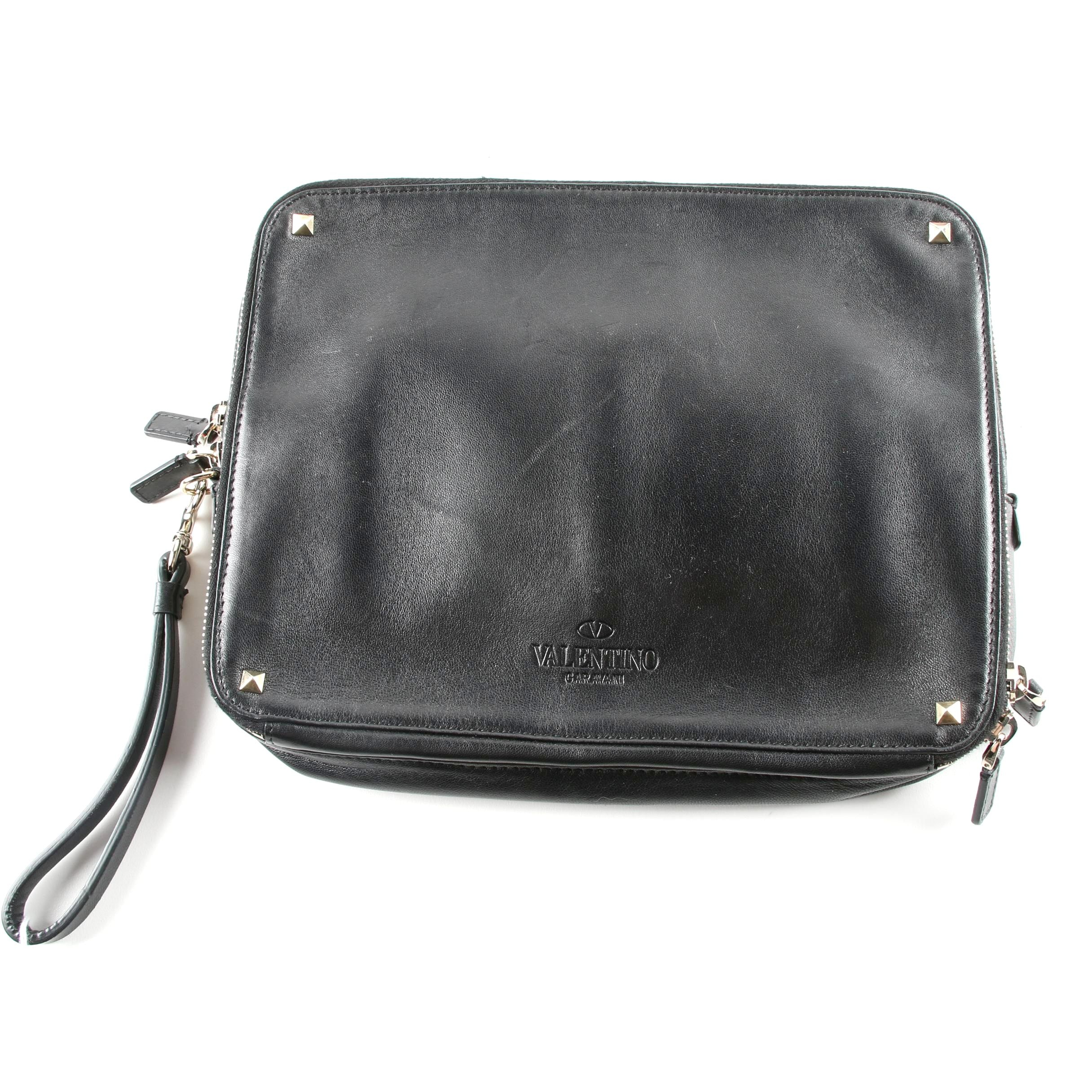 Valentino Garavani Rockstud Black Leather Tablet Case