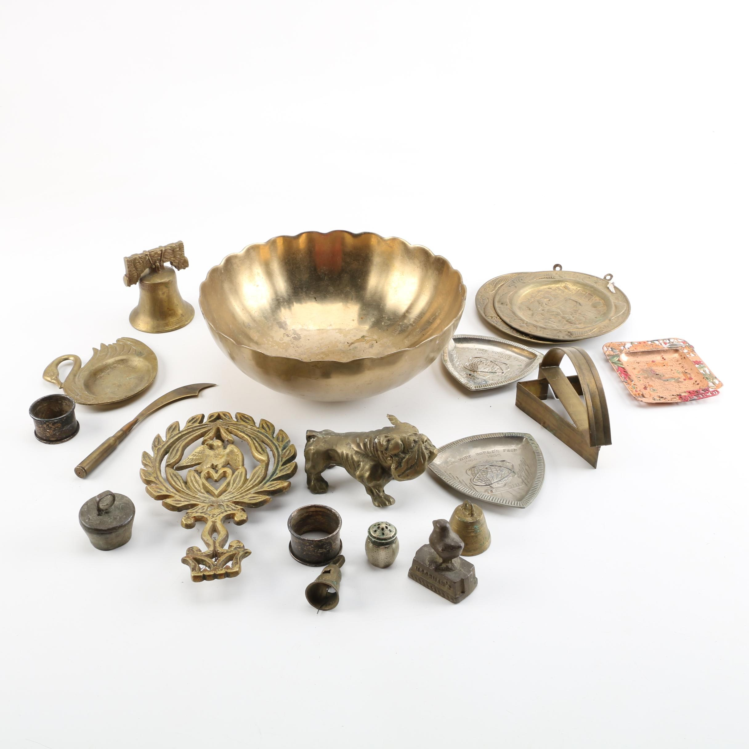 Assorted Metal Miniatures, Souvenir Trinket Dishes and More