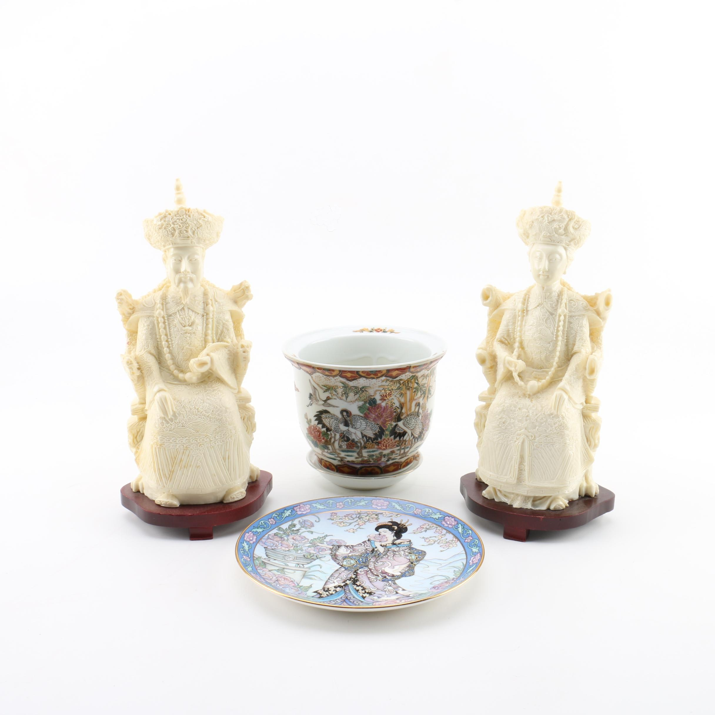 Asian Inspired Figurines, Porcelain Planter and Plate