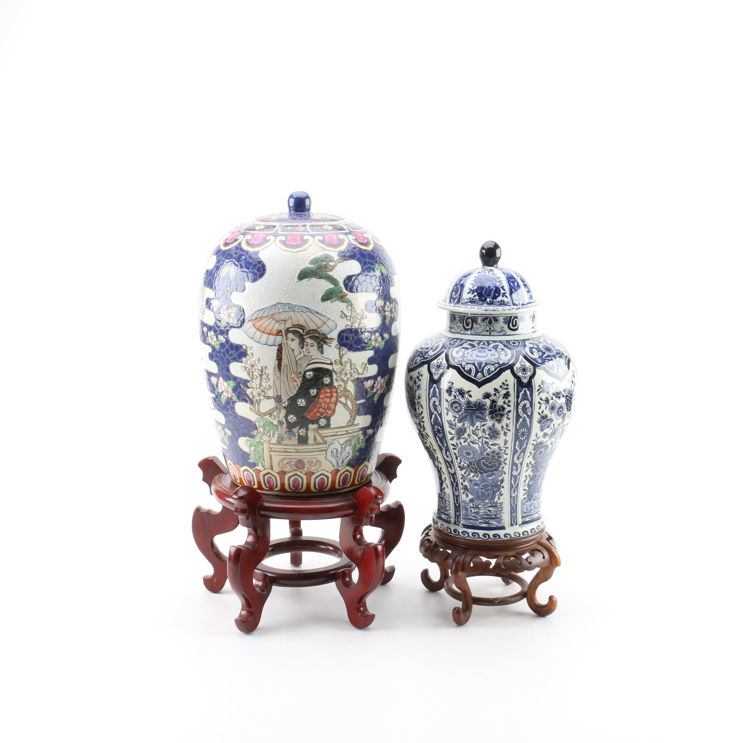 Asian Inspired Ceramic Ginger Jars with Wooden Stands