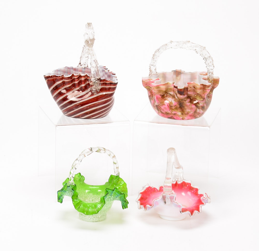 Collection of Art Glass Baskets