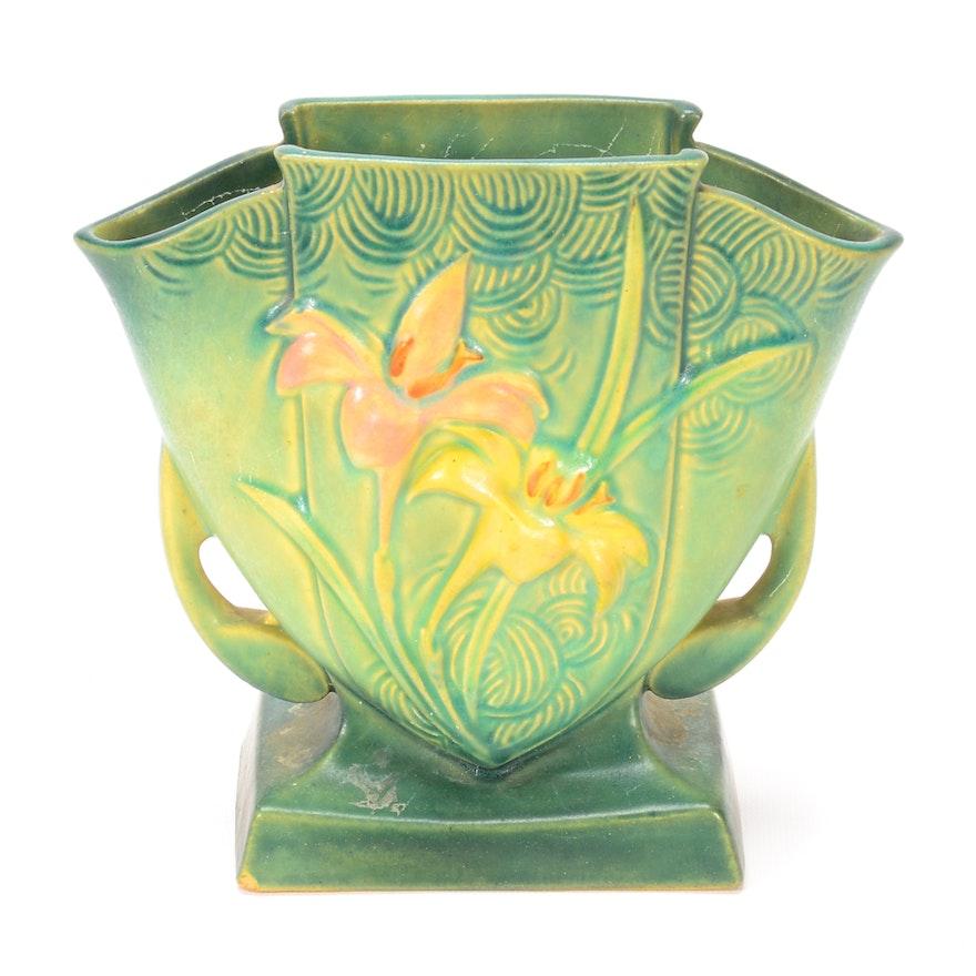 Vintage Roseville Zephyr Lily Vase Ebth