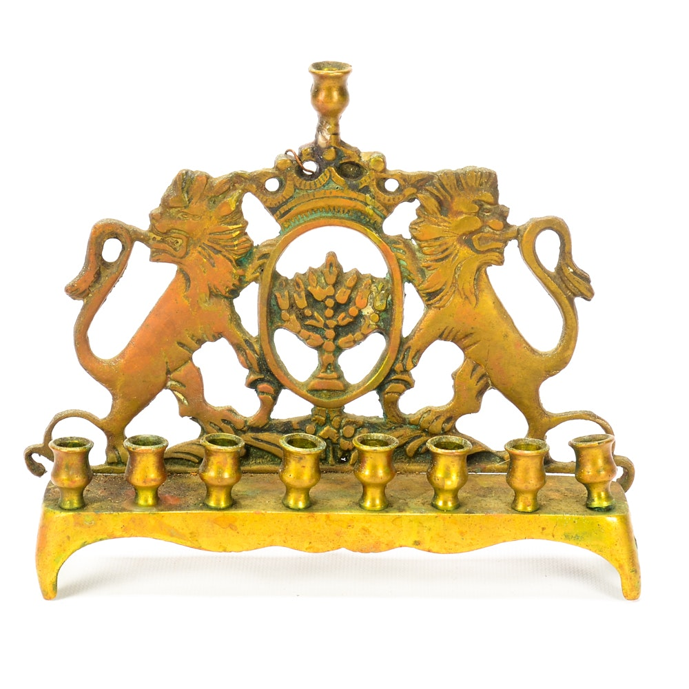 Vintage Brass Menorah with Lions of Judah