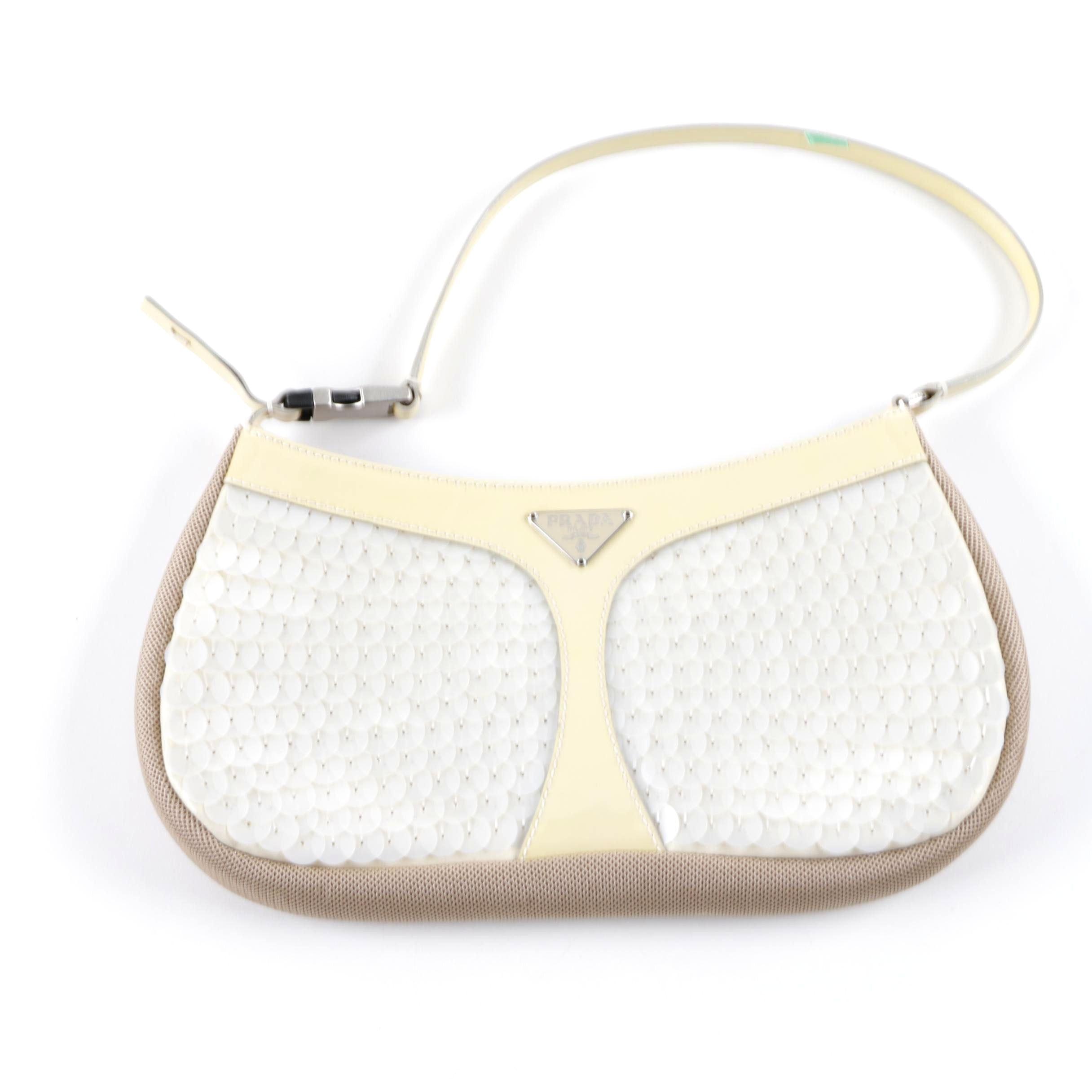 Prada Iridescent White Sequin Handbag