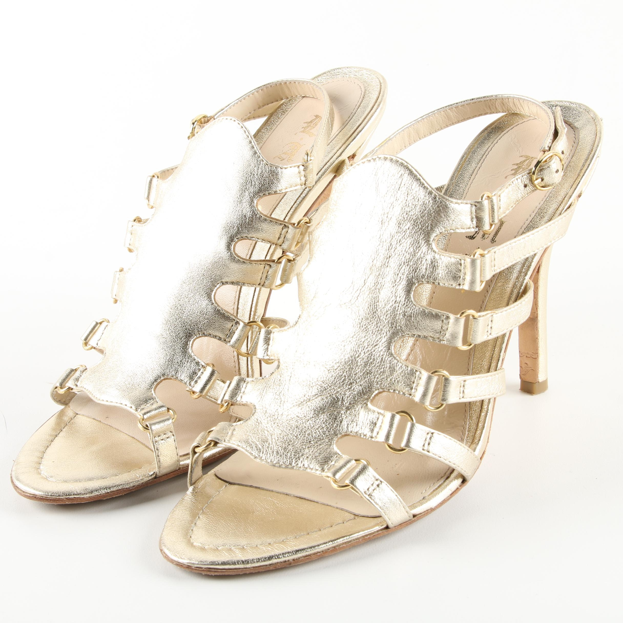 Women's L.A.M.B. Goldy Metallic Platinum Leather High-Heeled Sandals