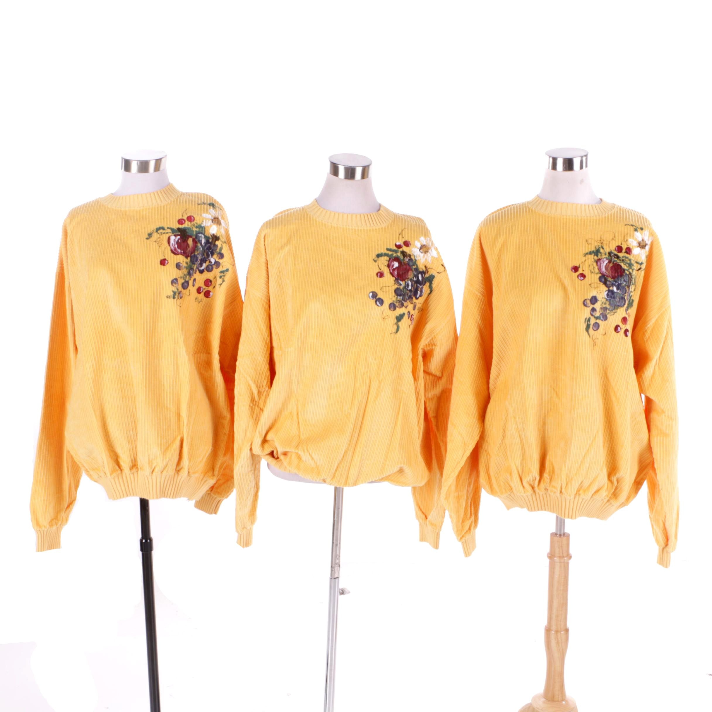 Yellow Hand-Painted Corduroy Sweatshirts