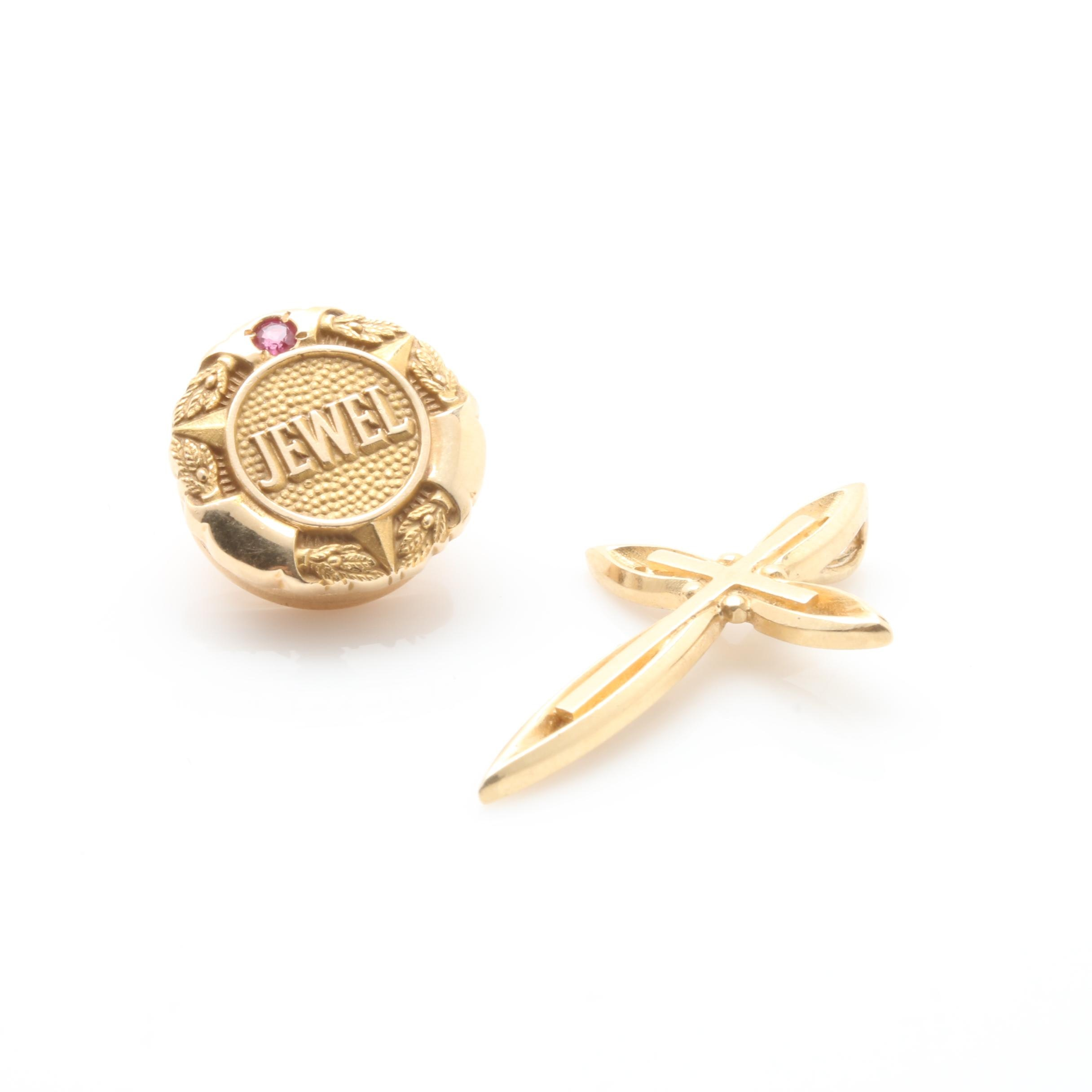 "14K Yellow Gold Cross Pendant and Ruby ""Jewel"" Lapel Pin"