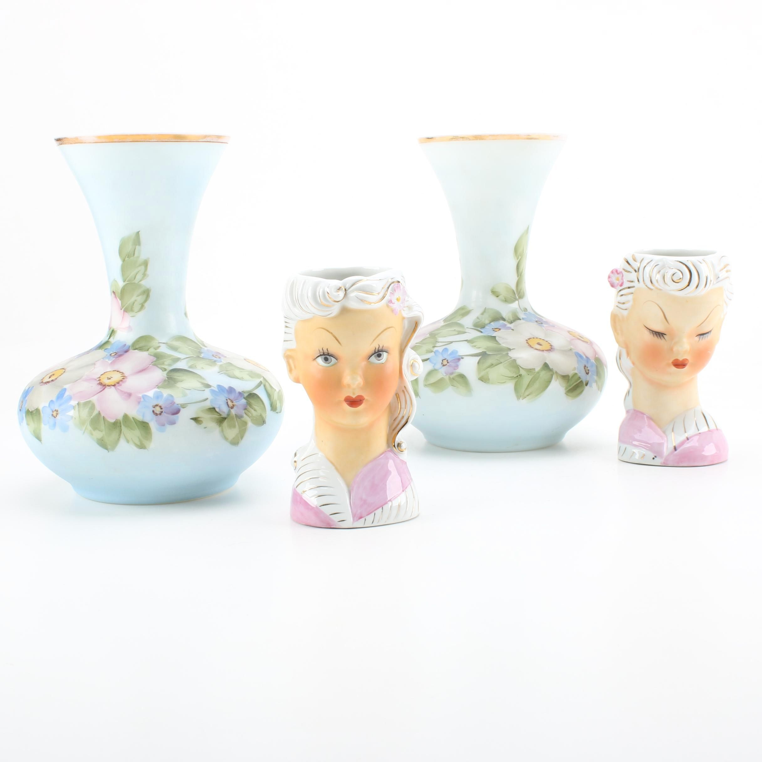 Hand-Painted Milk Glass Vases by Charleton and Ceramic Lady Head Vases