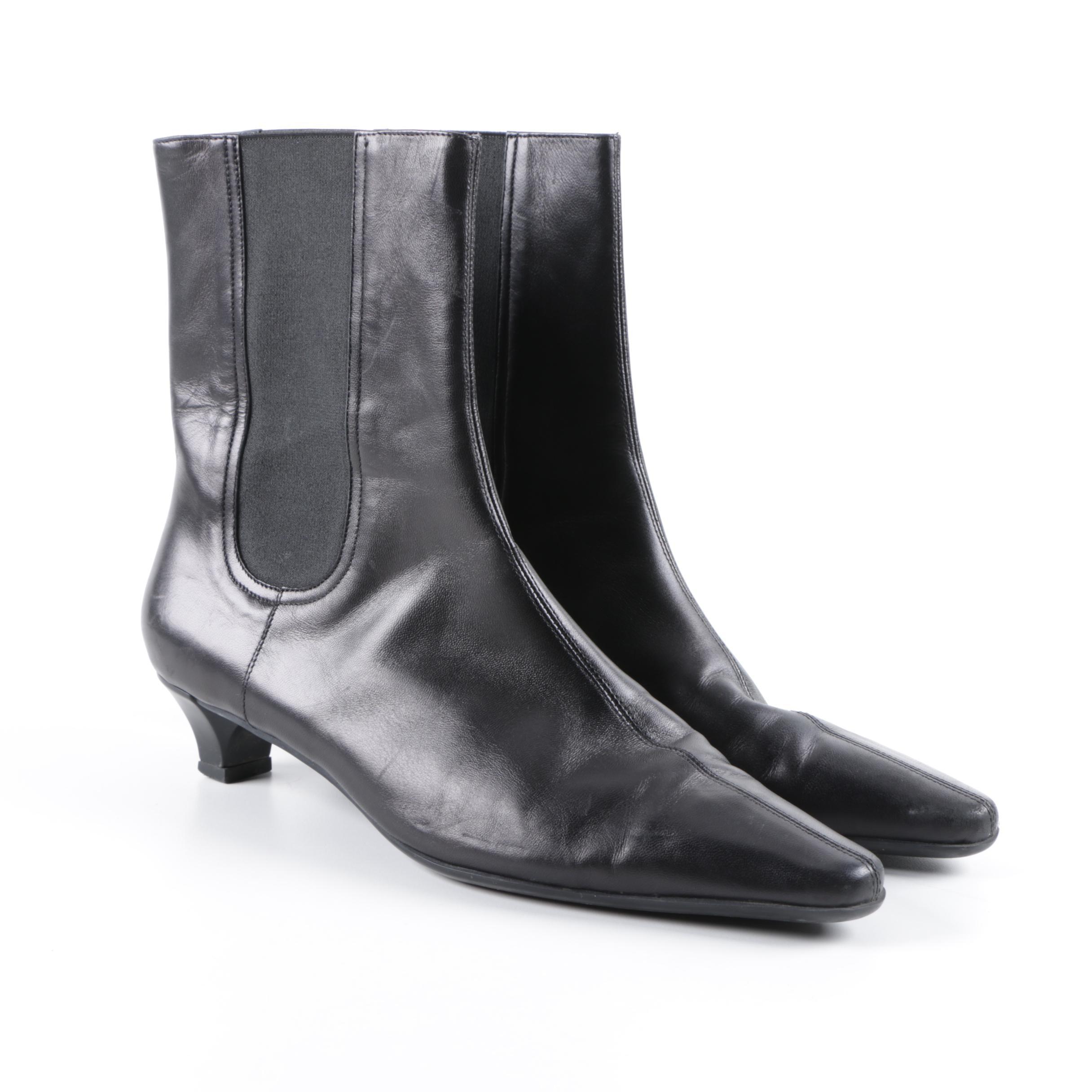 Women's Salvatore Ferragamo Black Leather Chelsea Boots