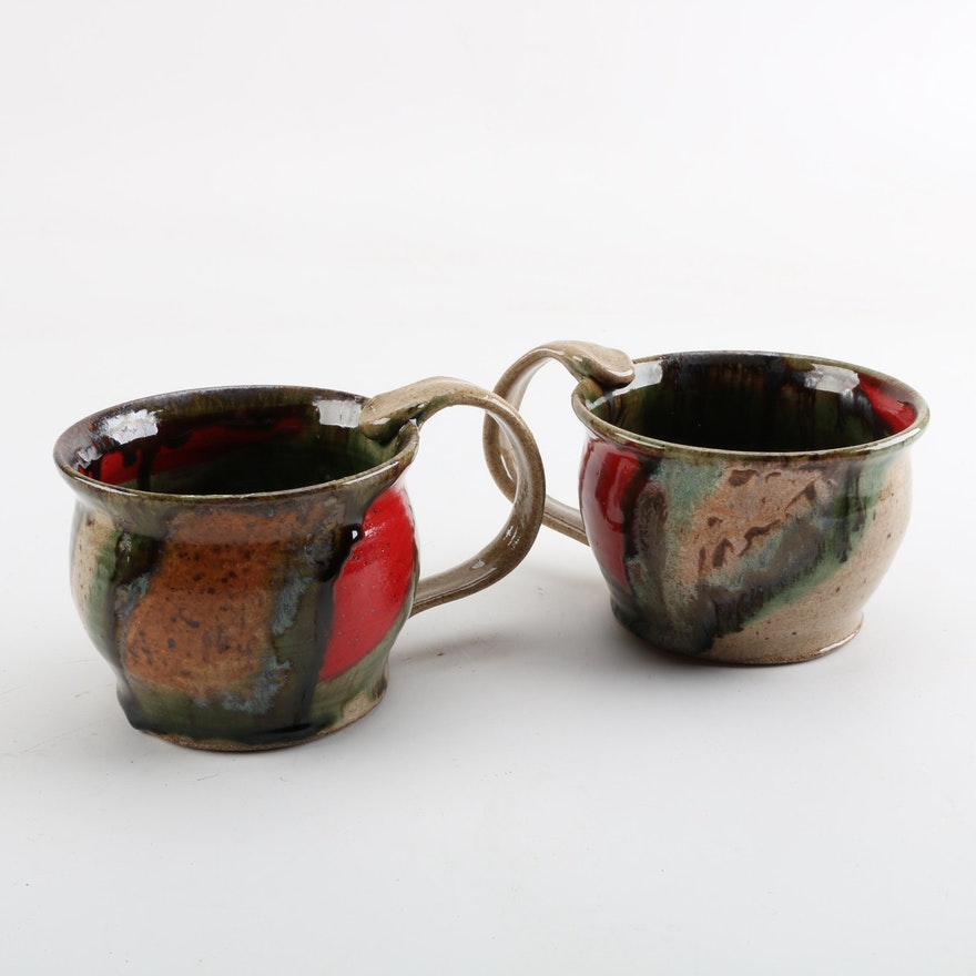 Signed Brad Walker Thrown Stoneware Soup Mugs with Handles : EBTH