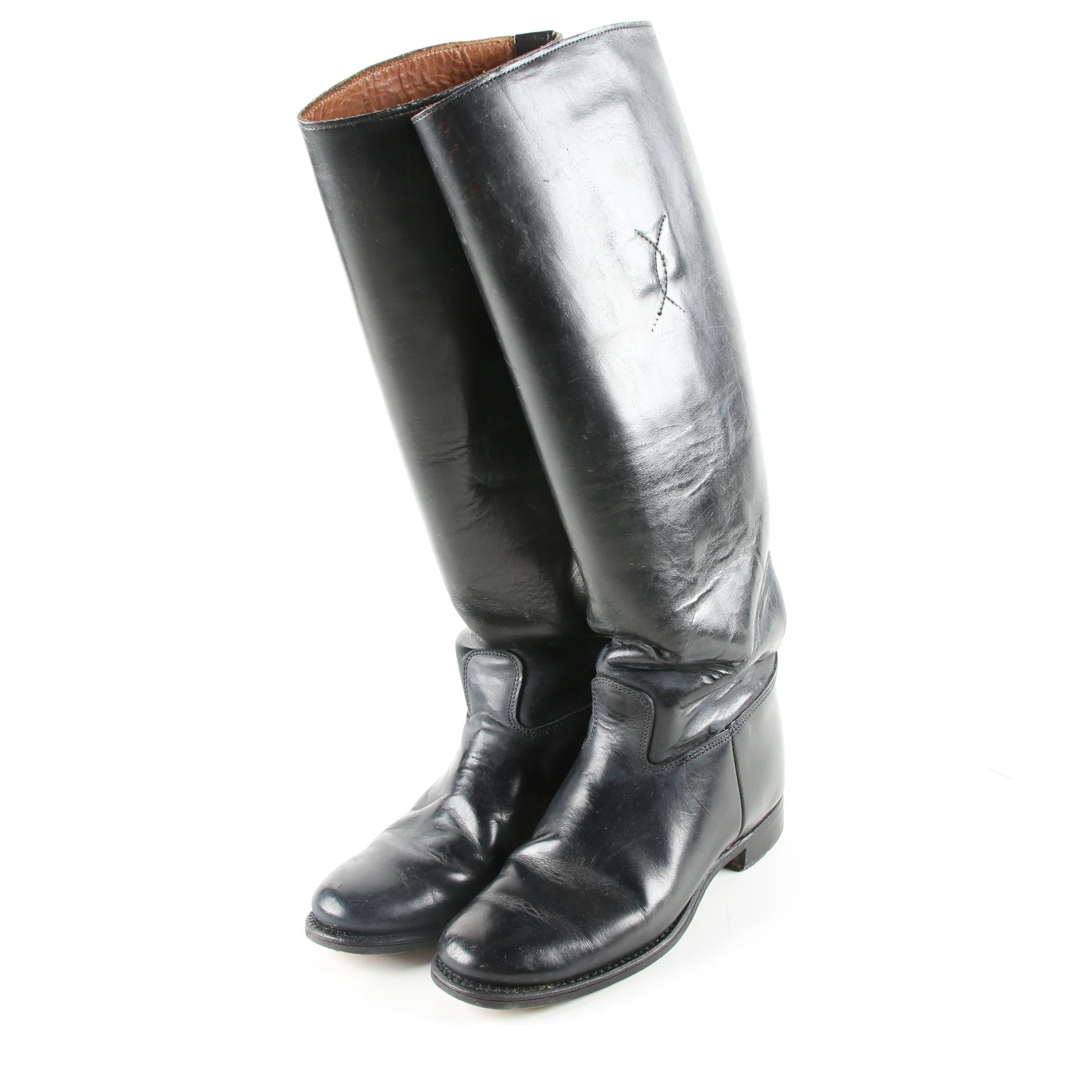 Women's Black Leather Riding Style Boots