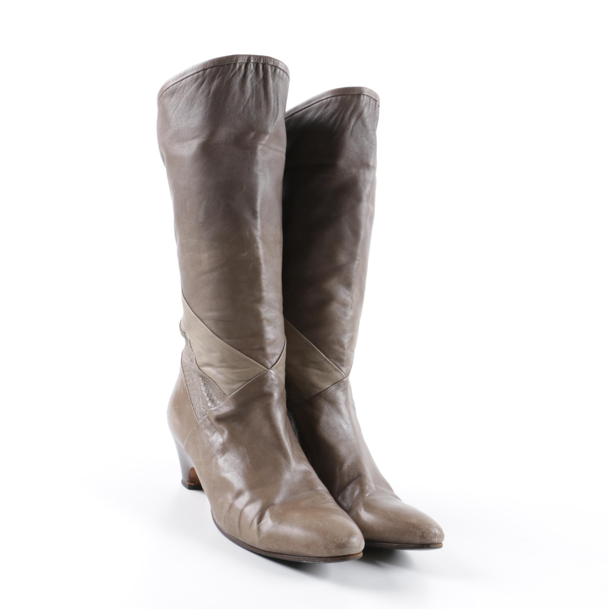 Women's Vintage Italian Made Embossed Leather Boots