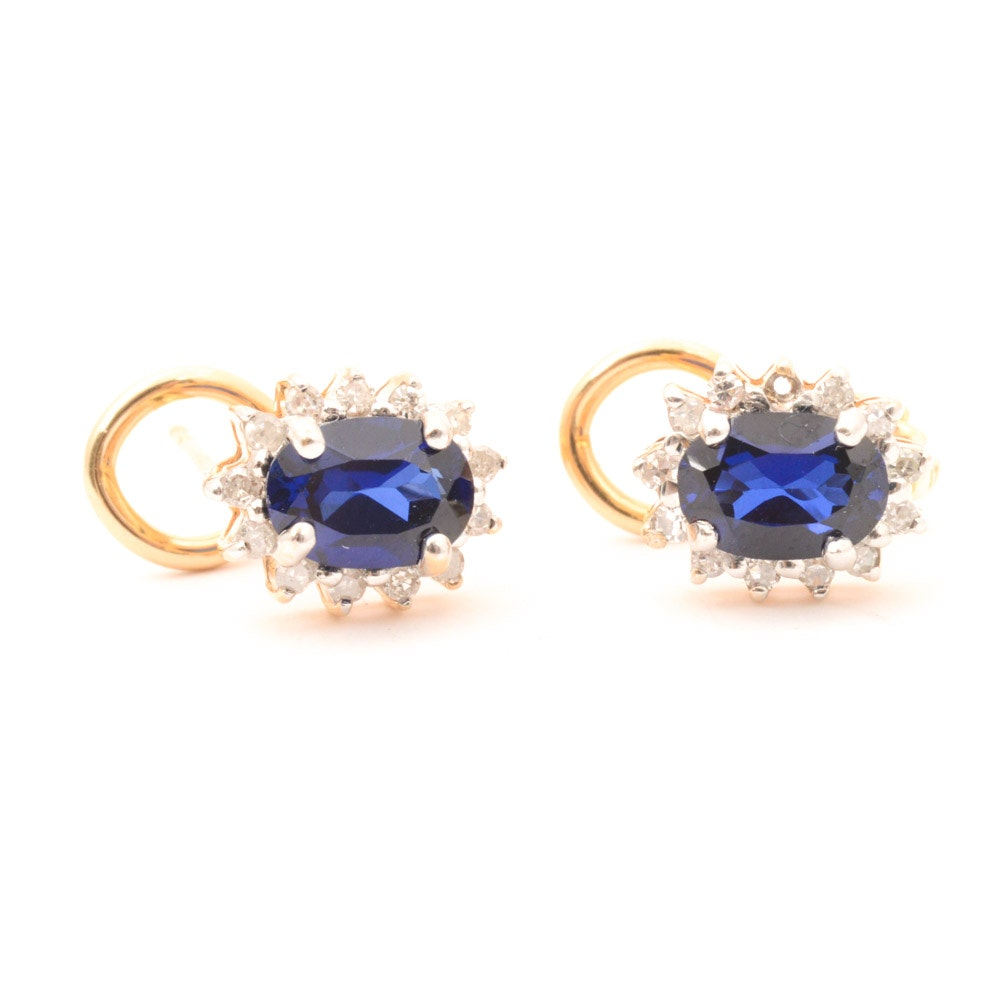 14K Yellow Gold Diamond and Synthetic Sapphire Earrings