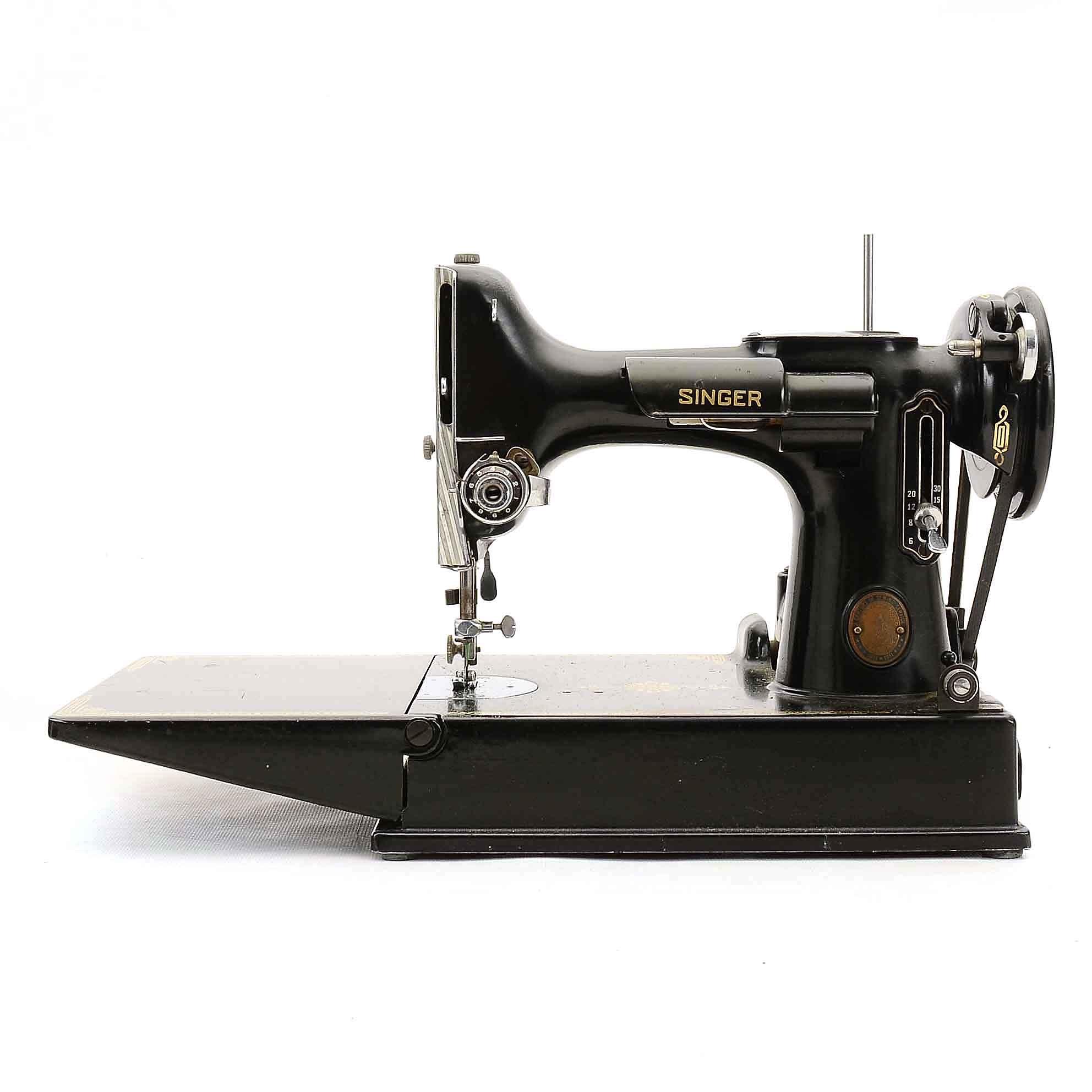 Vintage Portable Electric Singer Sewing Machine, Model 221-1